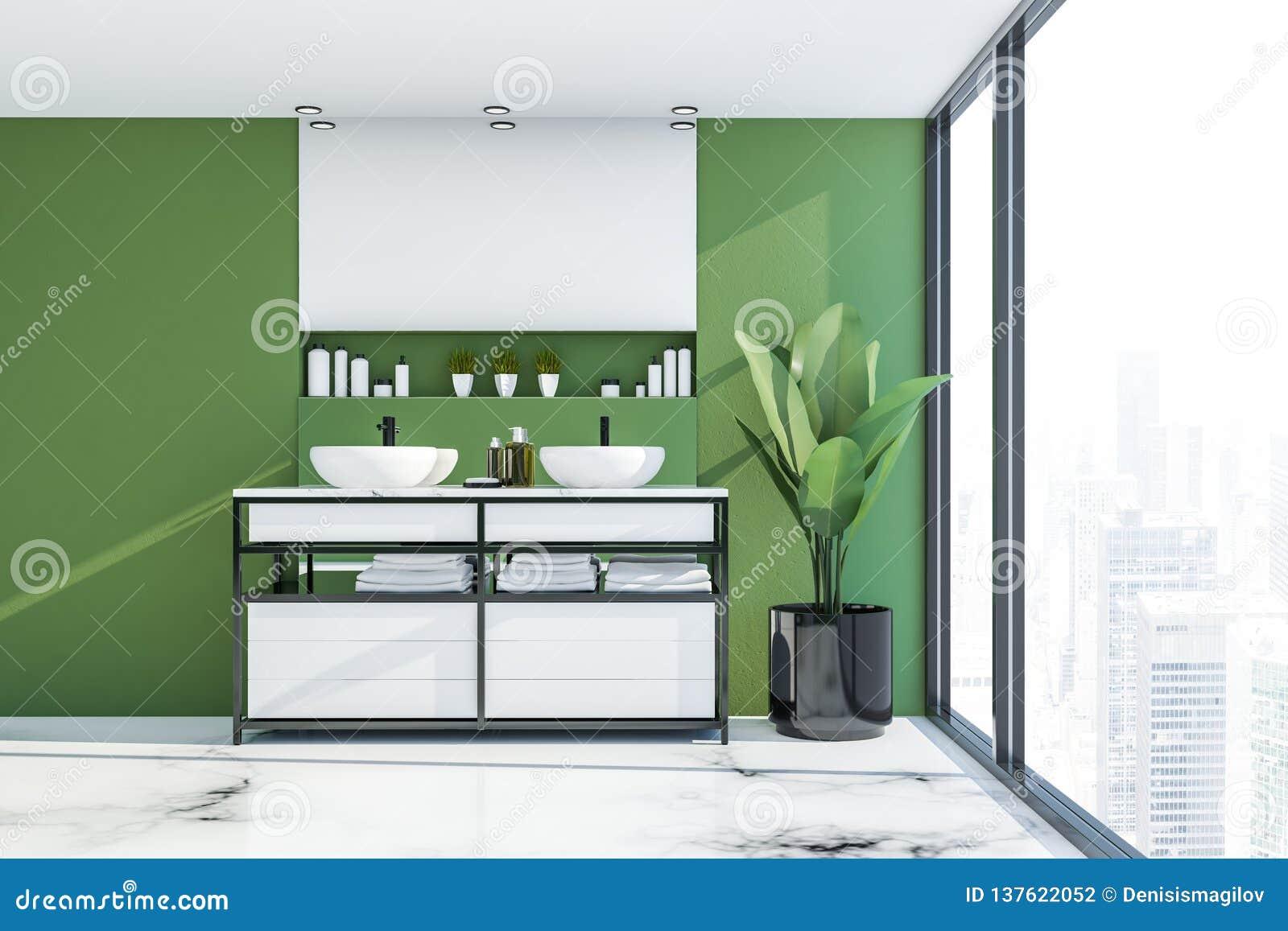 Salle De Bains Verte Avec Le Double évier Illustration Stock ...