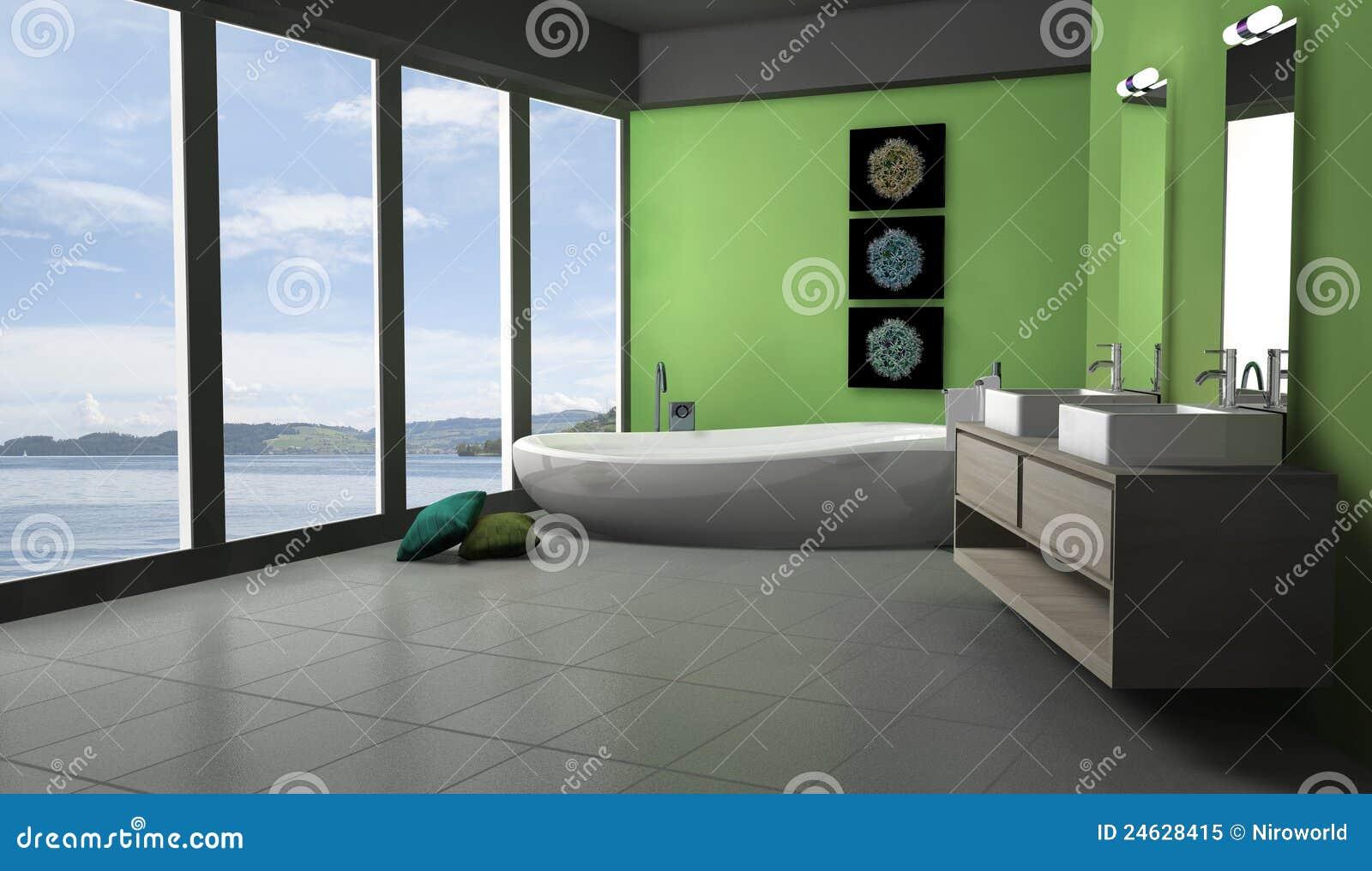 salle de bains verte lakeview illustration stock illustration du int rieur l gance 24628415. Black Bedroom Furniture Sets. Home Design Ideas