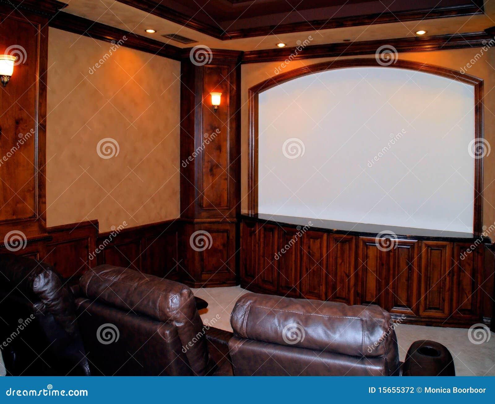 Salle De Cinema A La Maison Photo Stock Image Du Prive Films