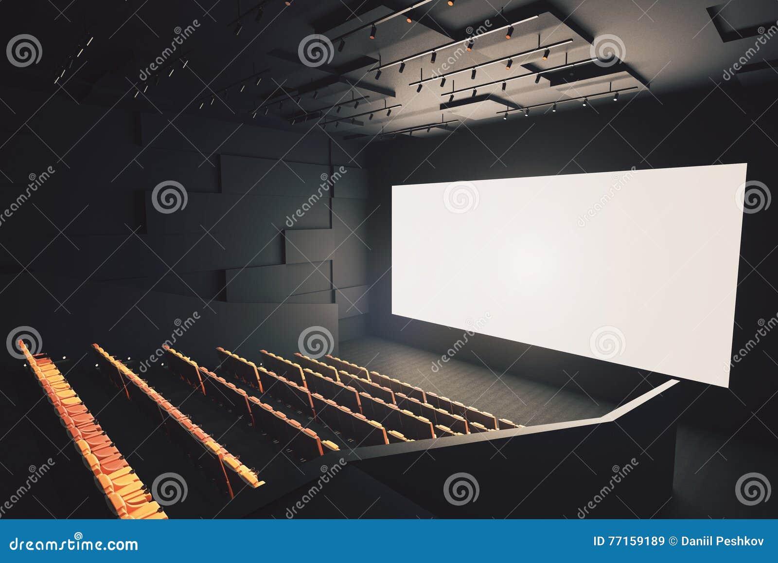 Salle de cinéma avec l écran vide