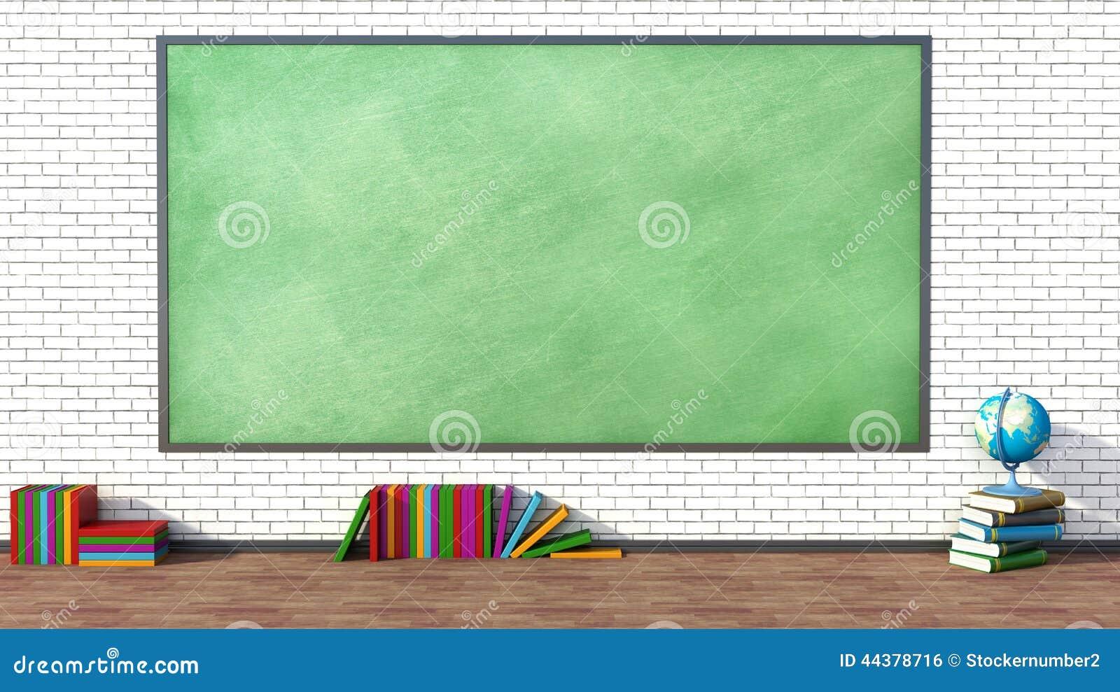 salle de classe avec le tableau noir vert contre le mur de briques illustration stock image. Black Bedroom Furniture Sets. Home Design Ideas