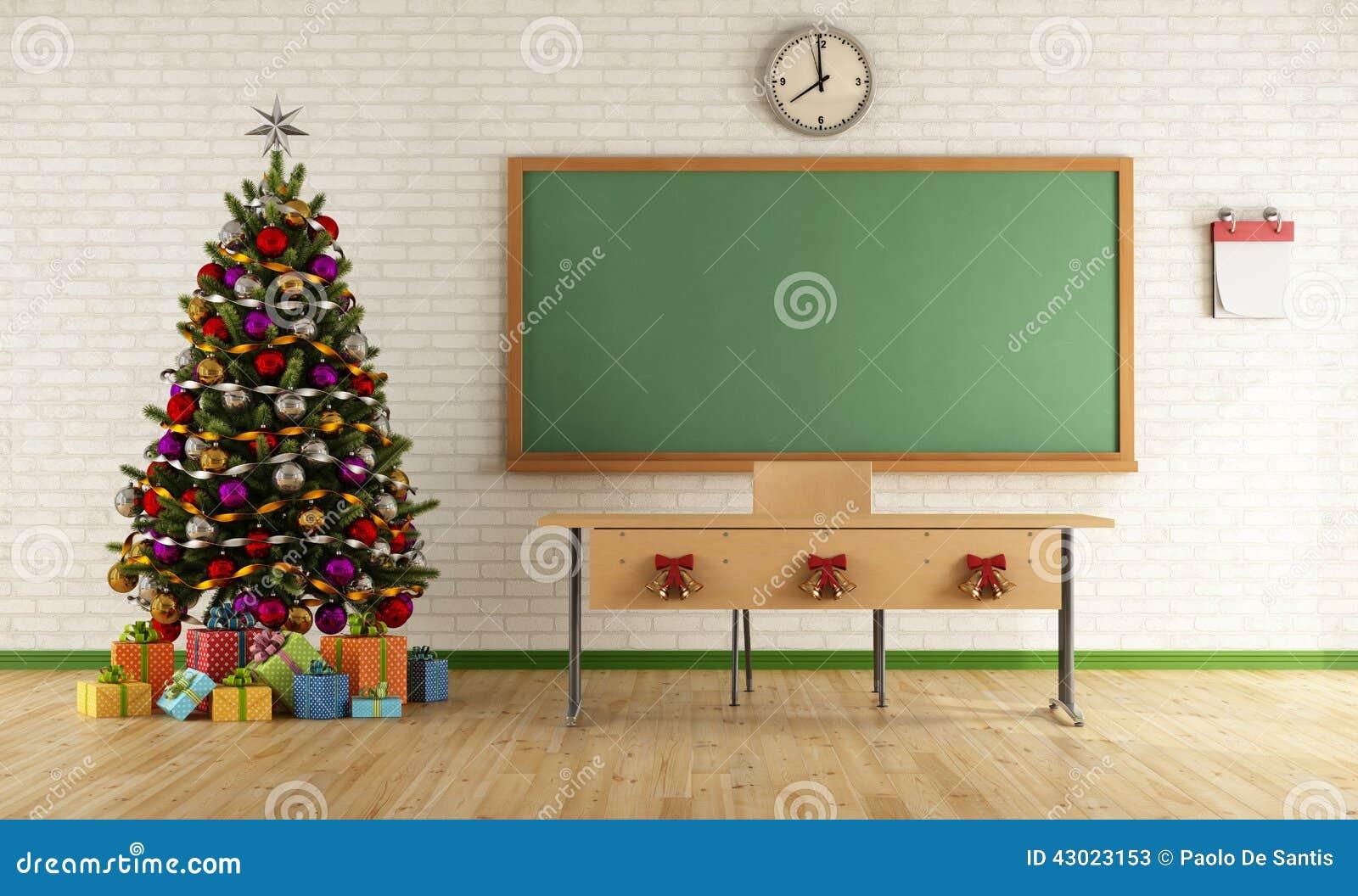 Cadeau De Noel Classe.Salle De Classe De Noël Illustration Stock Illustration Du