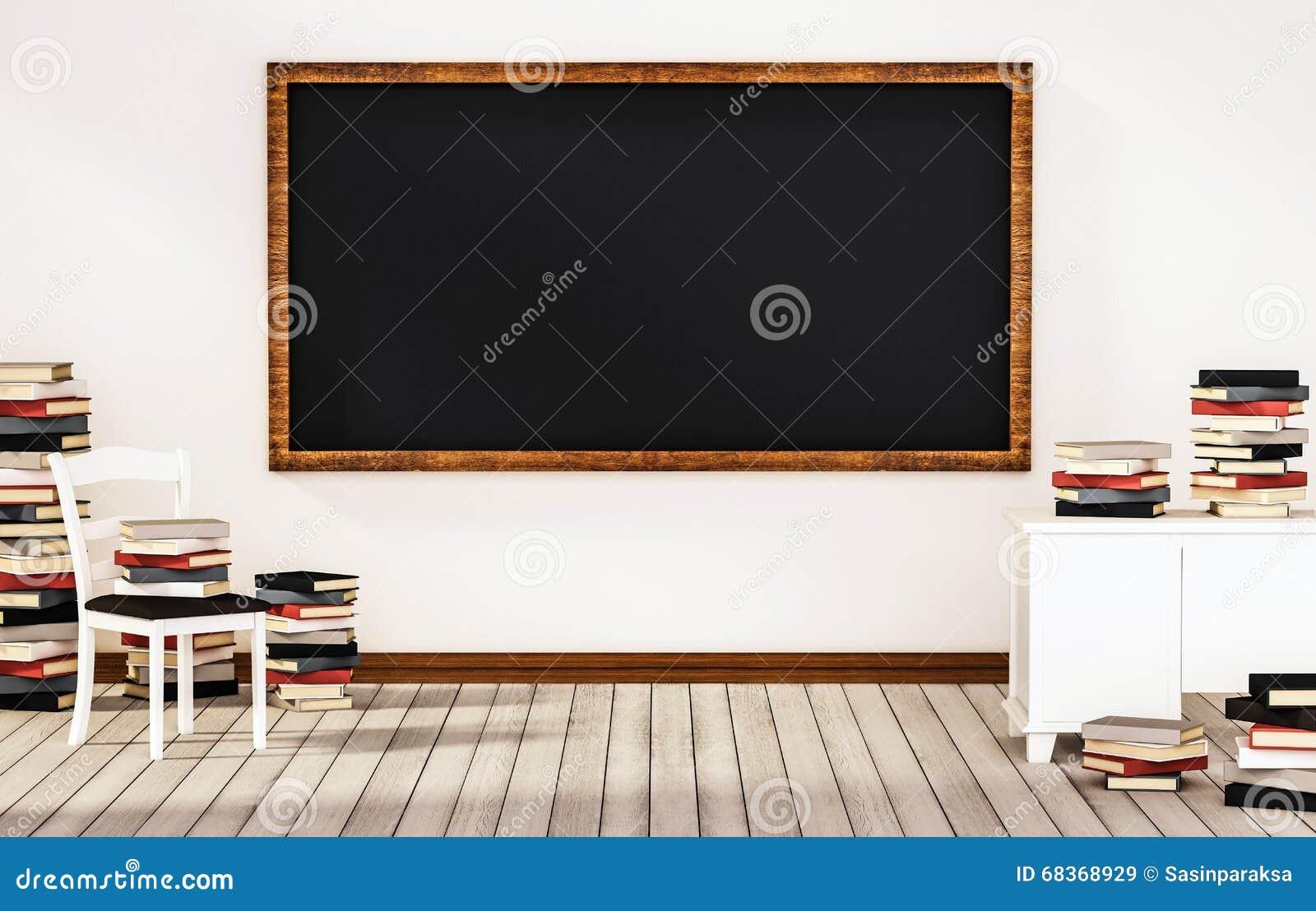 salle de classe tableau noir sur le mur blanc avec la table chaise et piles des livres sur le. Black Bedroom Furniture Sets. Home Design Ideas