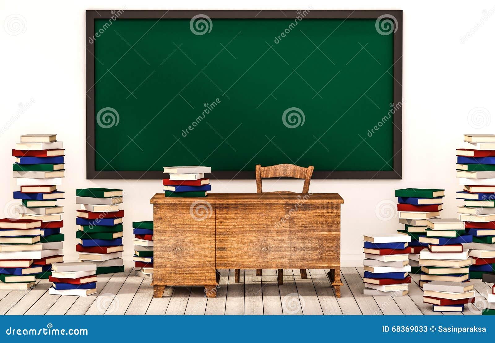 salle de classe tableau noir vert sur le mur blanc avec la table chaise et piles des livres. Black Bedroom Furniture Sets. Home Design Ideas
