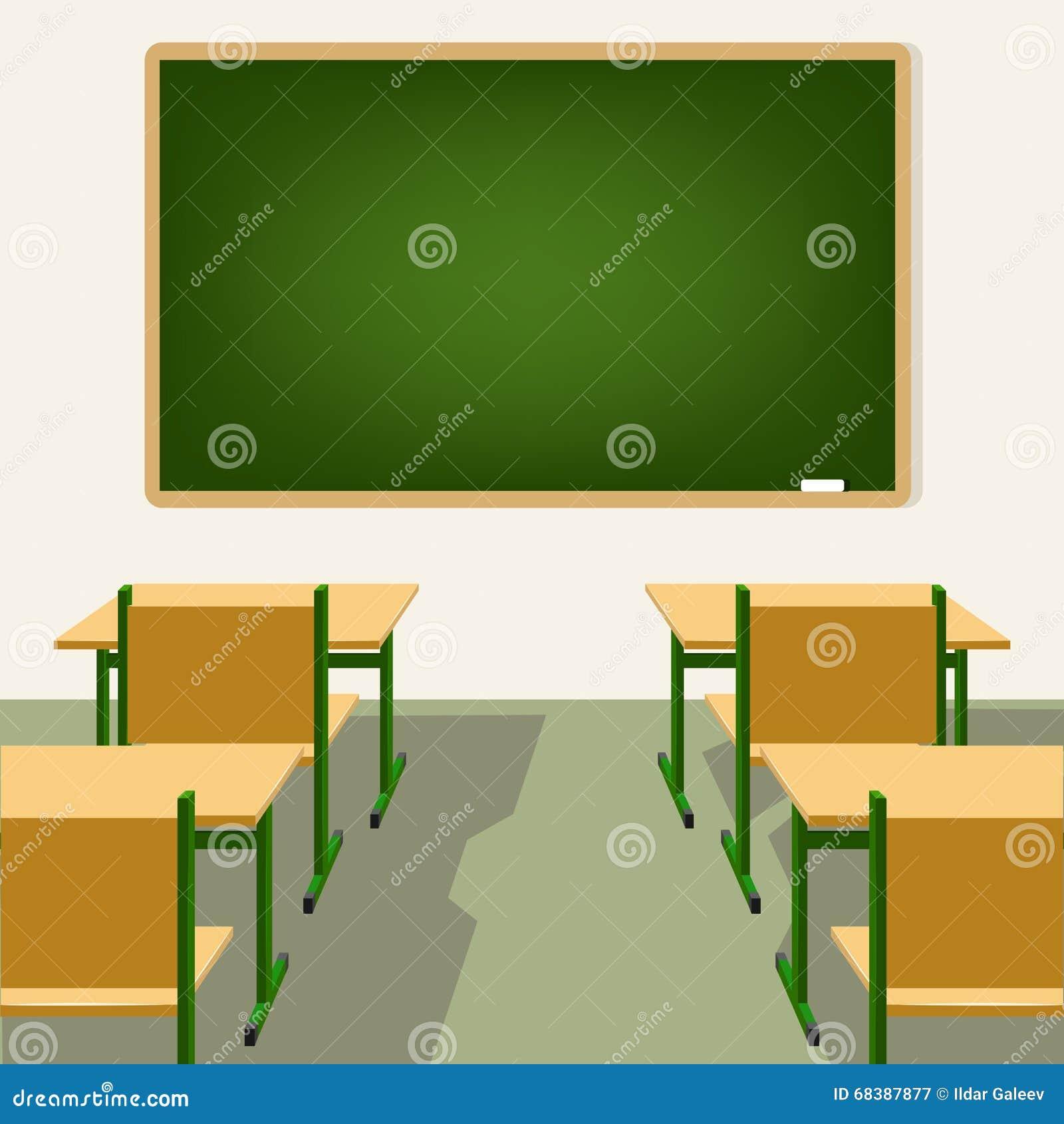 salle de classe vide d 39 cole avec le tableau noir et les. Black Bedroom Furniture Sets. Home Design Ideas