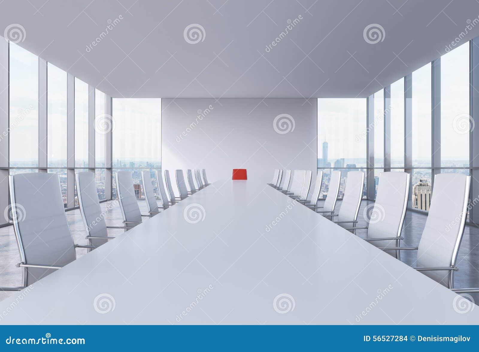 Salle de conférence panoramique dans le bureau moderne à new york