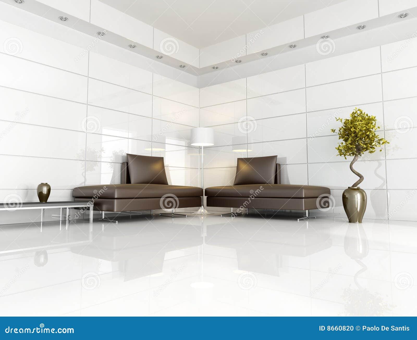 Salle de séjour brune et blanche contemporaine