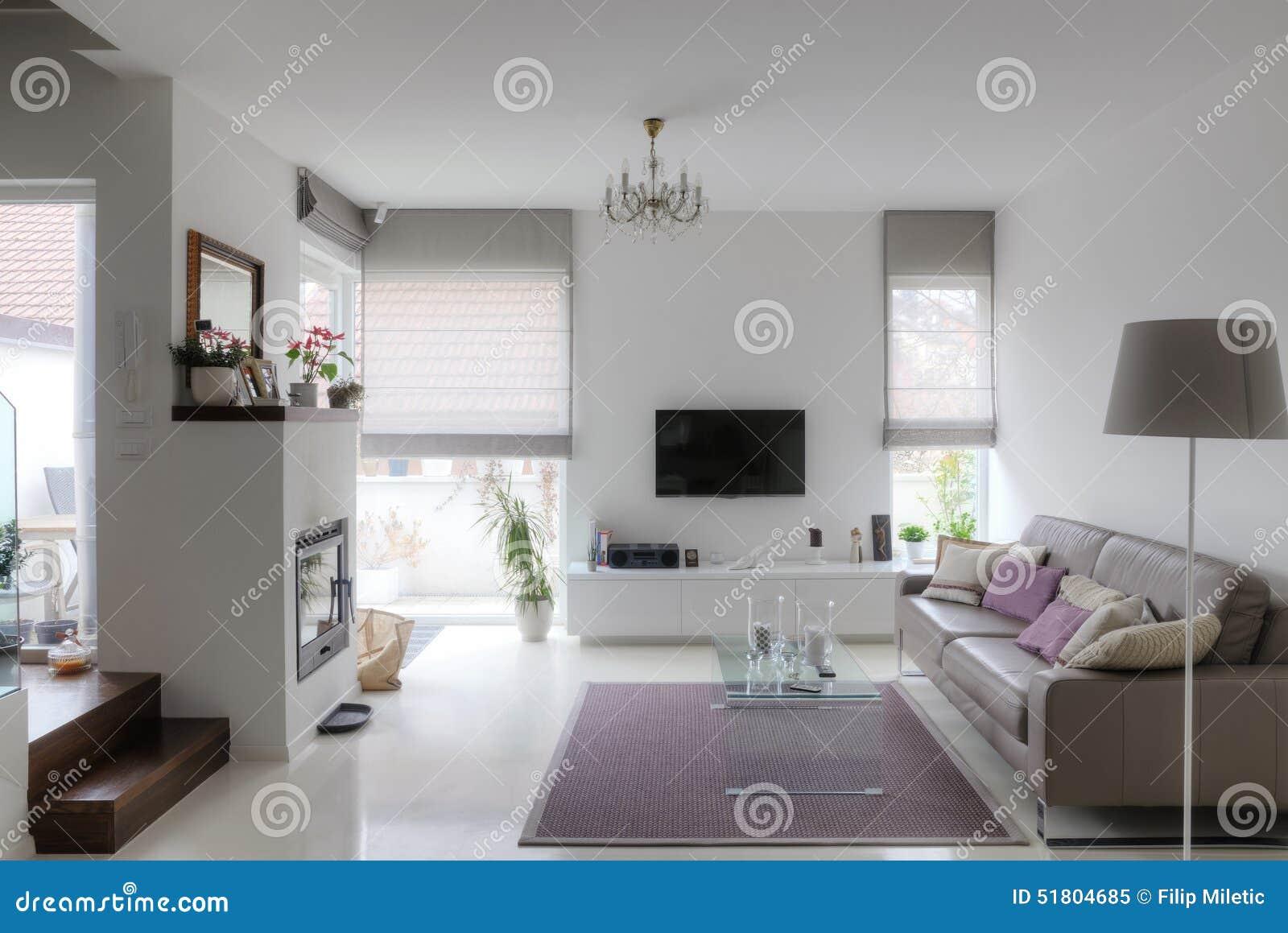 Salle de séjour moderne image stock. Image du beige, divan ...