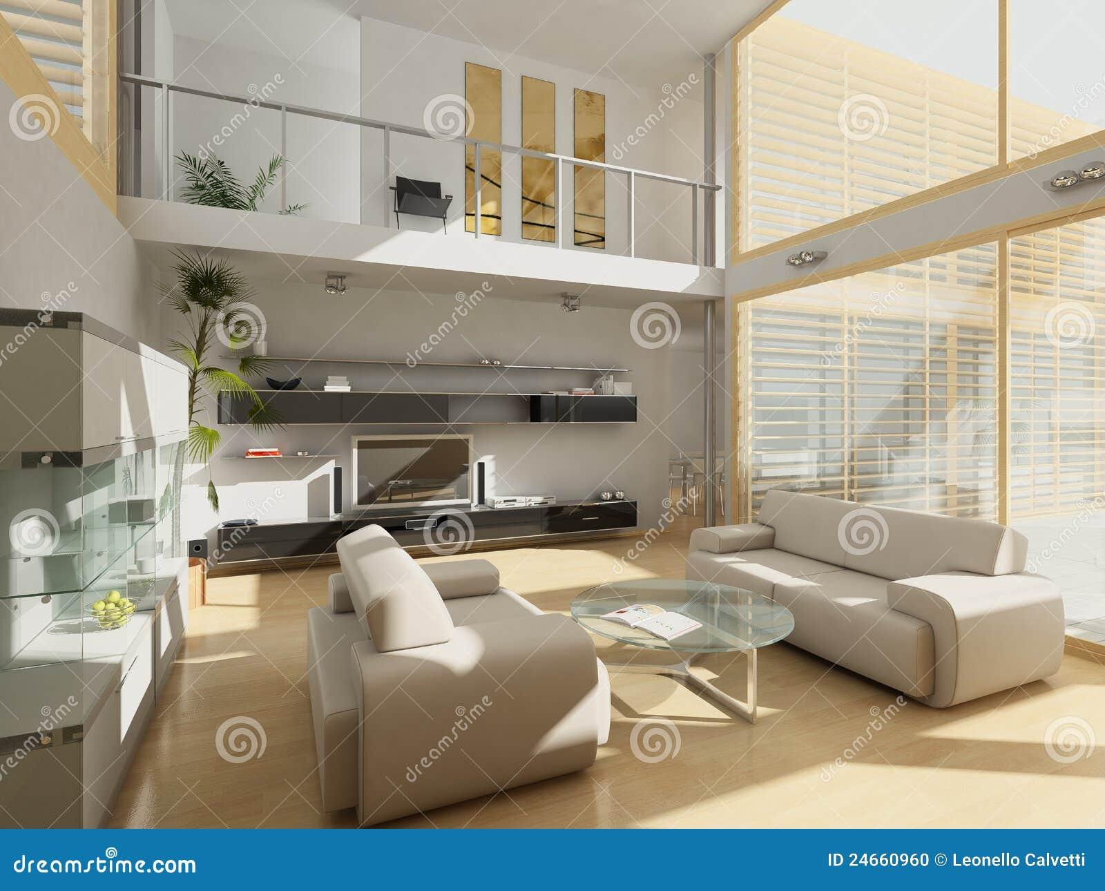 Salon Moderne Avec De Grandes Fenêtres. Photo stock - Image ...