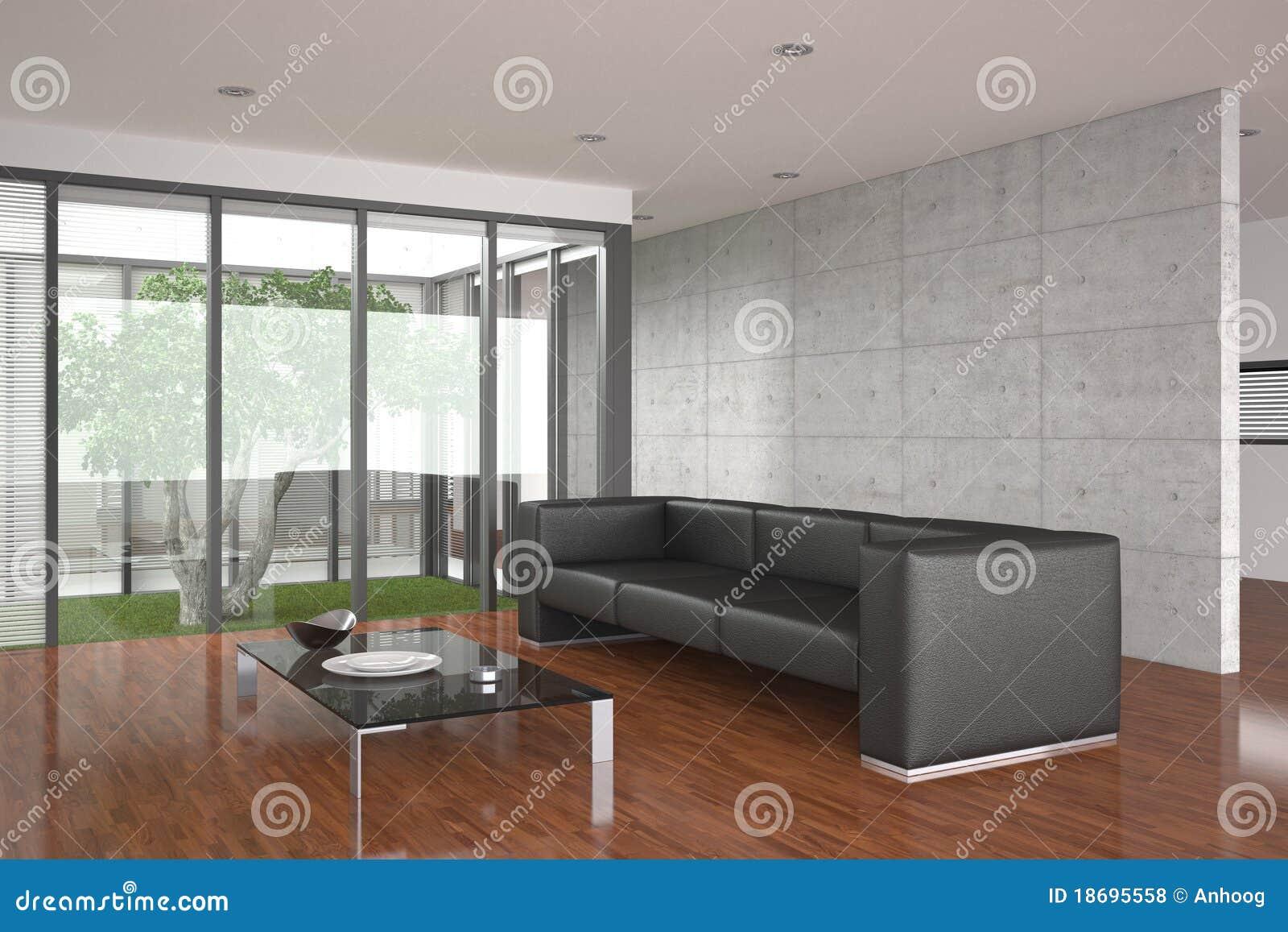Salle de s jour moderne avec l tage de parquet for Salle sejour moderne