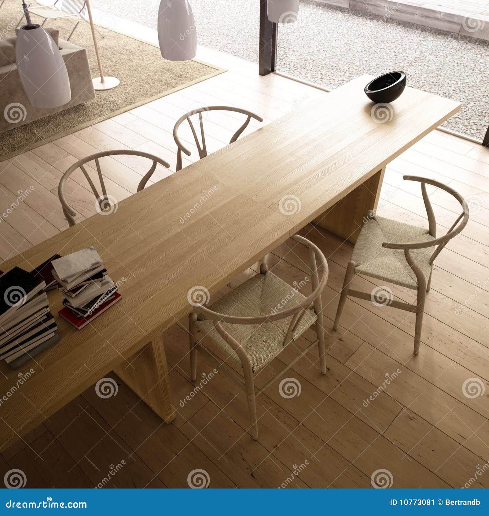 Salle de séjour moderne avec la table et les présidences