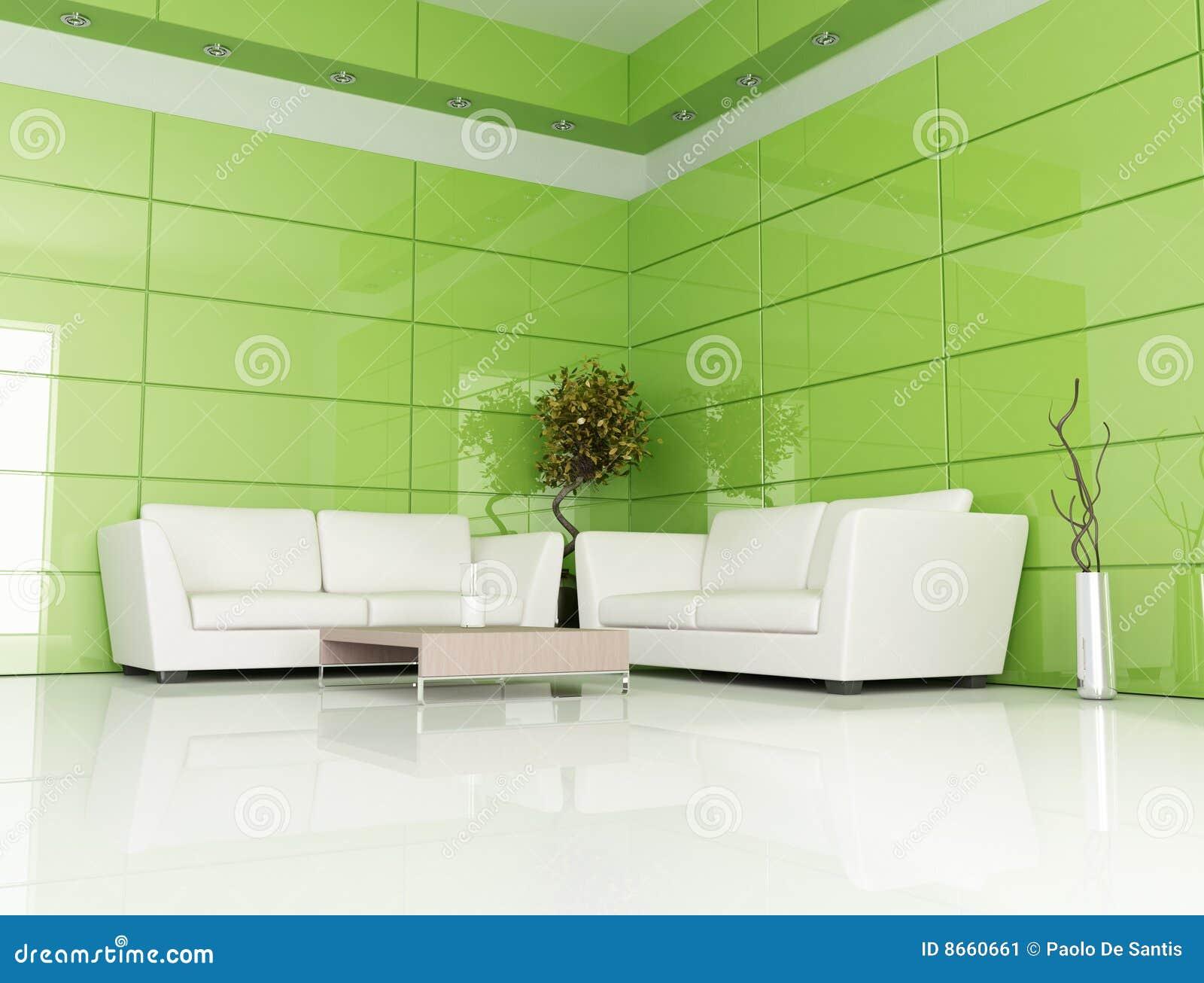 Salle de séjour verte et blanche
