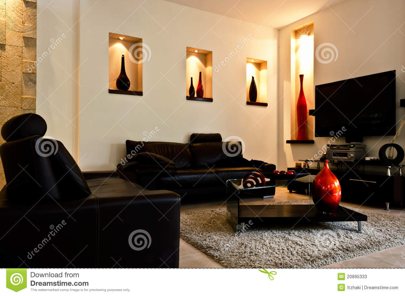 salle de s jour moderne photos stock image 20895333. Black Bedroom Furniture Sets. Home Design Ideas
