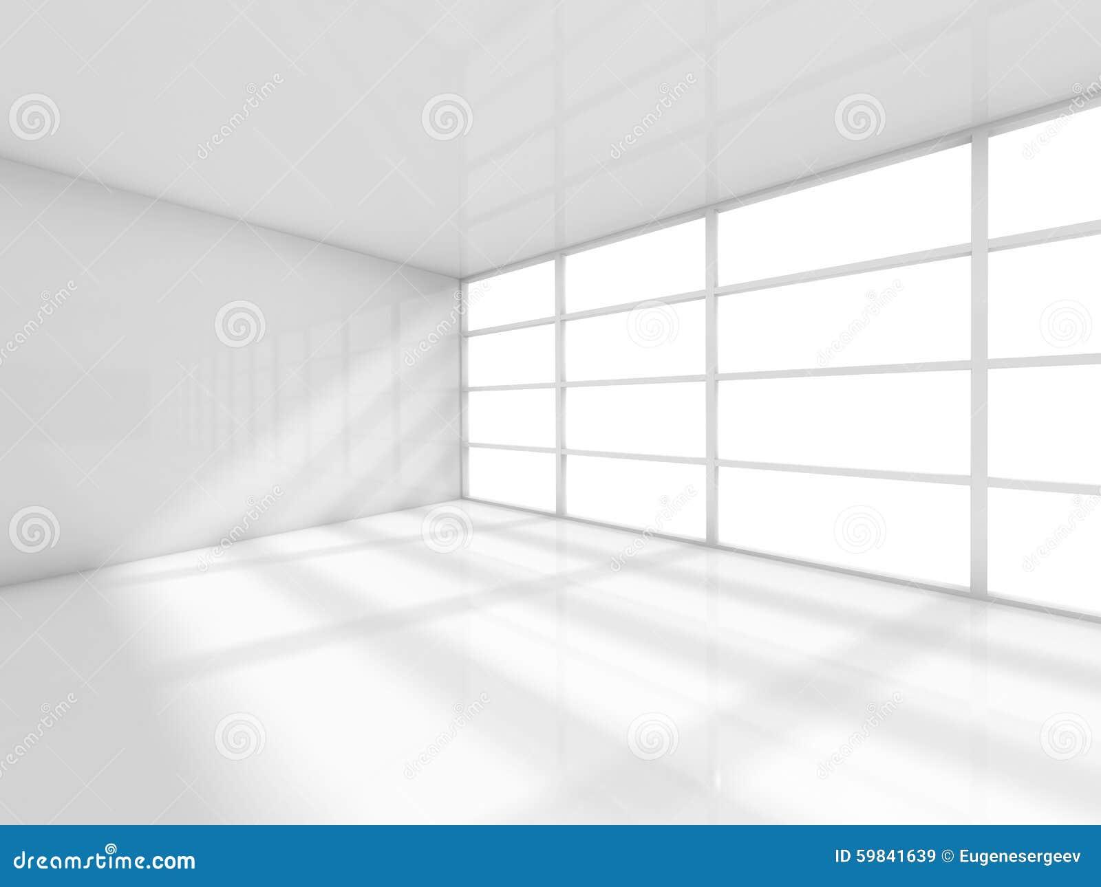 Salle intérieure et vide blanche abstraite 3d de bureau