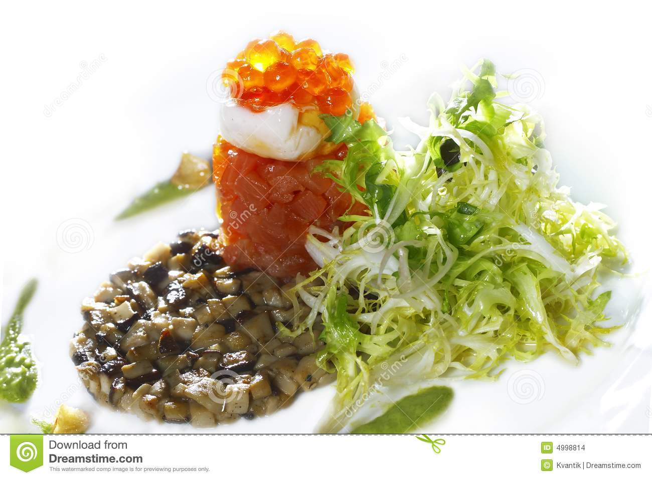 Salmon Appetizer With Caviar And Mushrooms Stock Images - Image ...