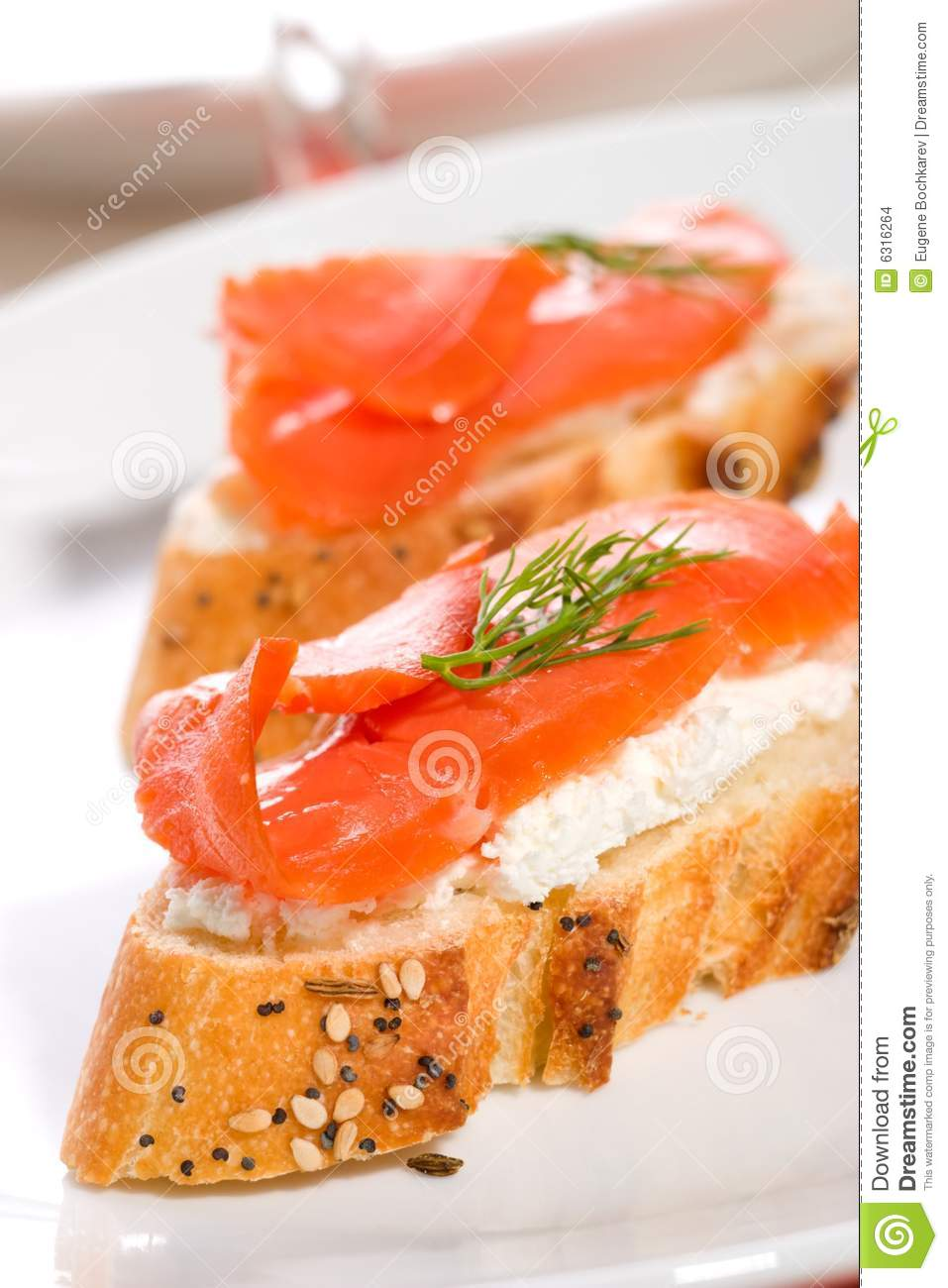 Salmon cheese canape stock images image 6316264 for Smoked salmon cream cheese canape