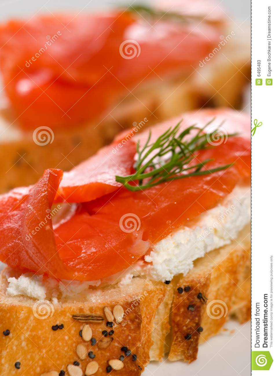 Salmon cheese canape stock photos image 6495483 for Smoked salmon cream cheese canape