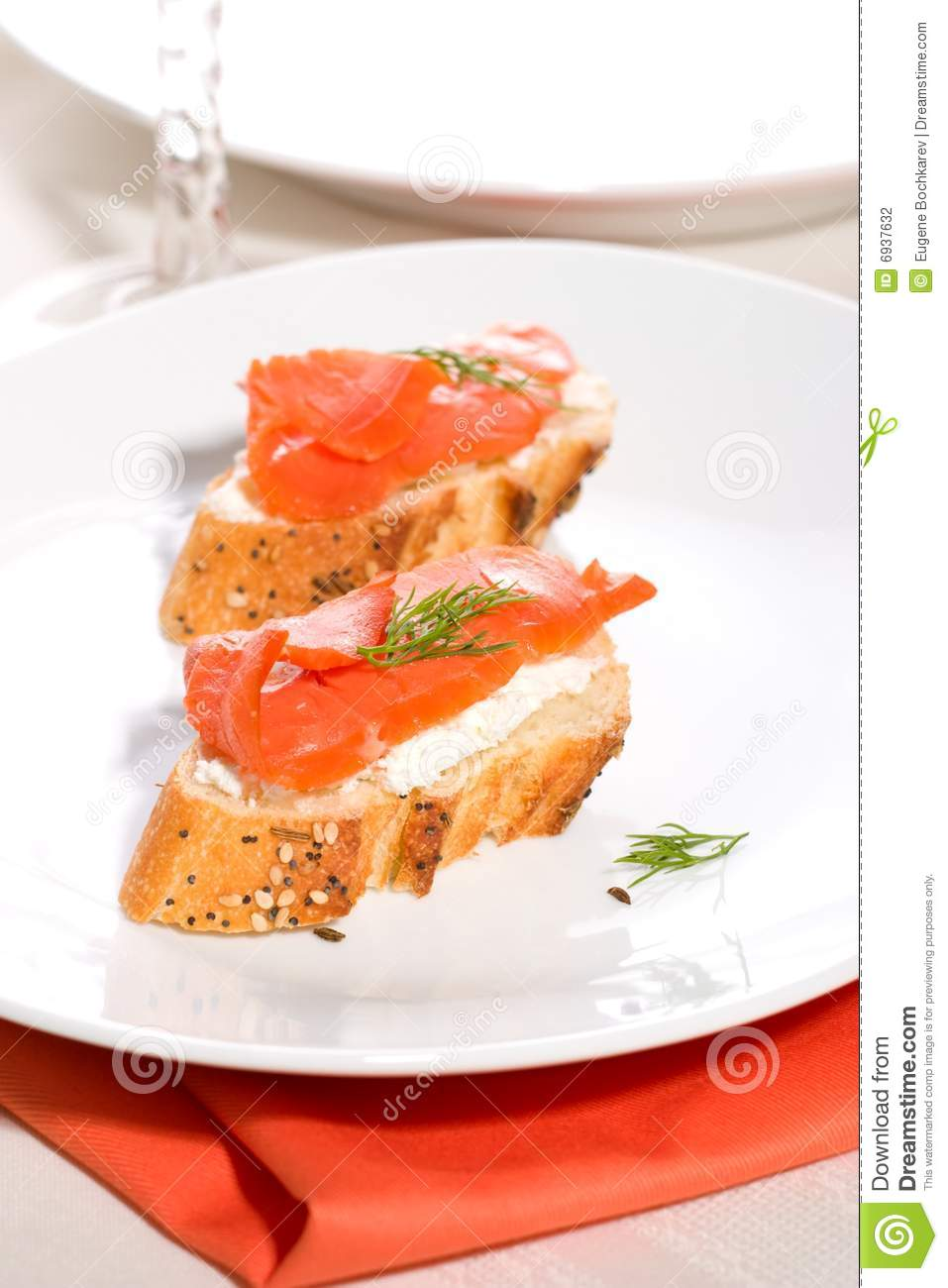 Salmon cheese canape stock photography image 6937632 for Smoked salmon cream cheese canape