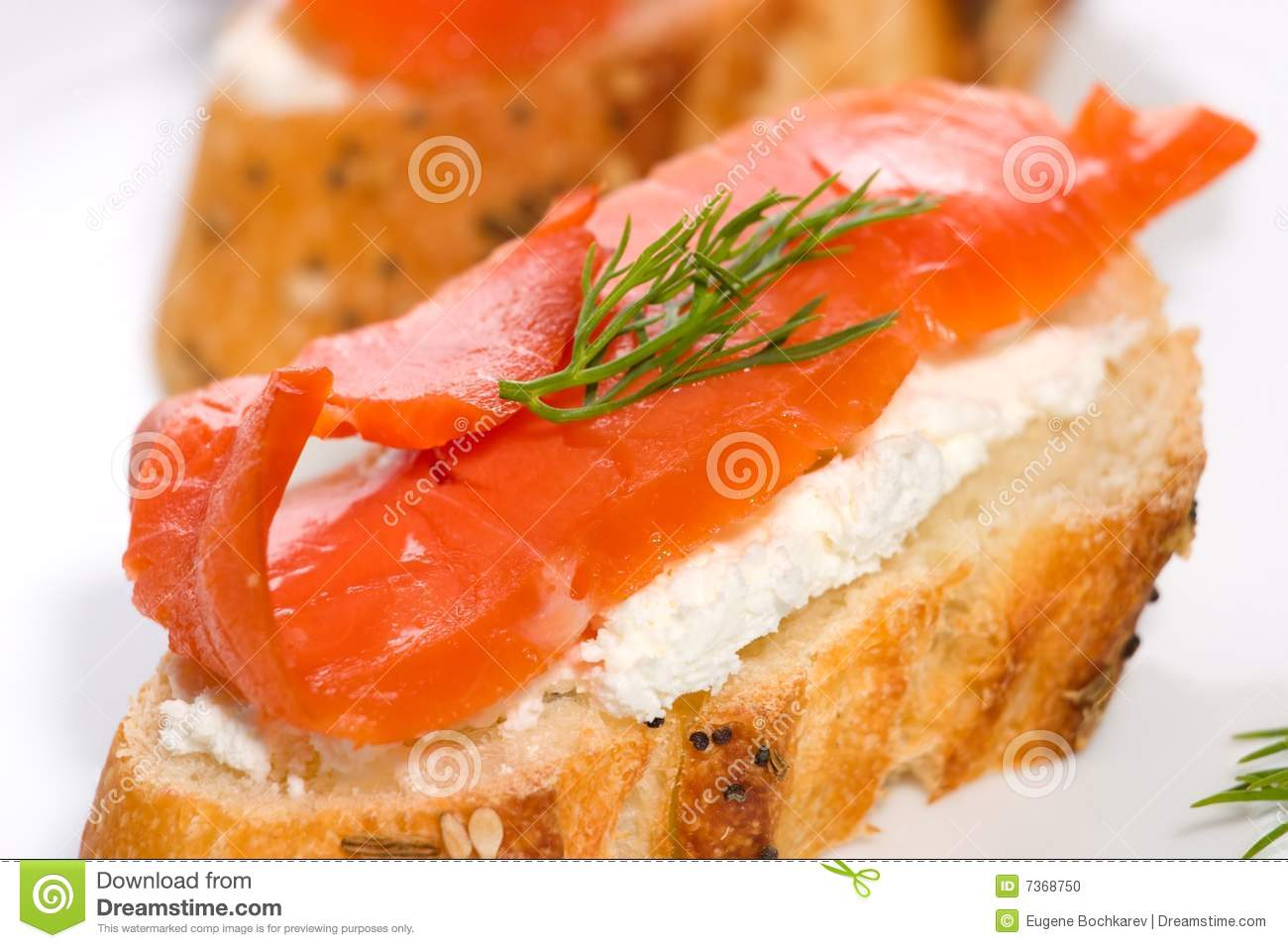 Salmon cheese canape stock photo image 7368750 for Smoked salmon cream cheese canape