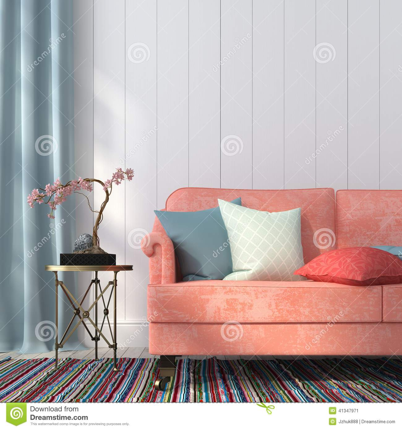 Salmon-colored Sofa And A Metal Table Stock Illustration - Image ...