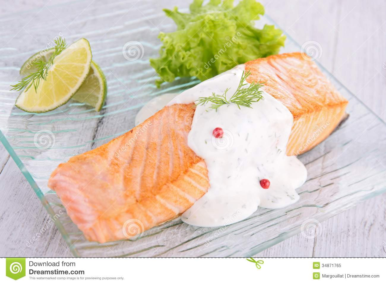 Salmon With Cream And Dill Royalty Free Stock Photo