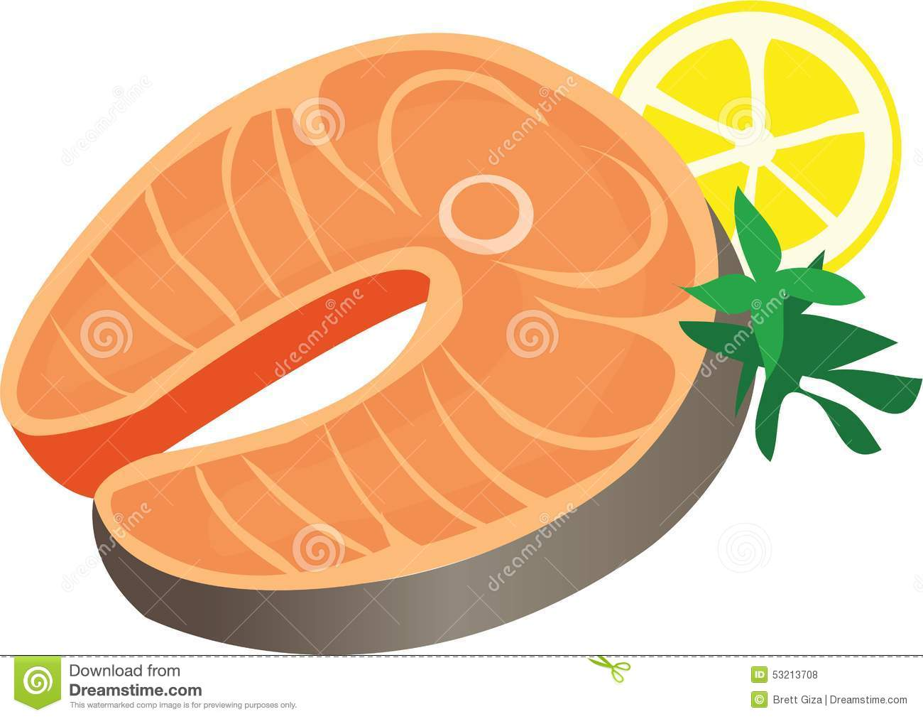 Salmon dinner stock vector image 53213708 for Piece of fish
