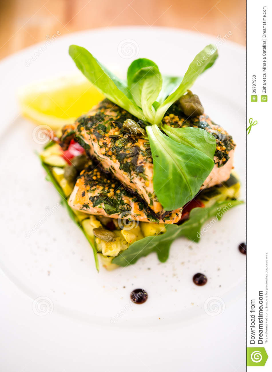 Salmon dish stock photo 48389694 for Aromatic herb for fish