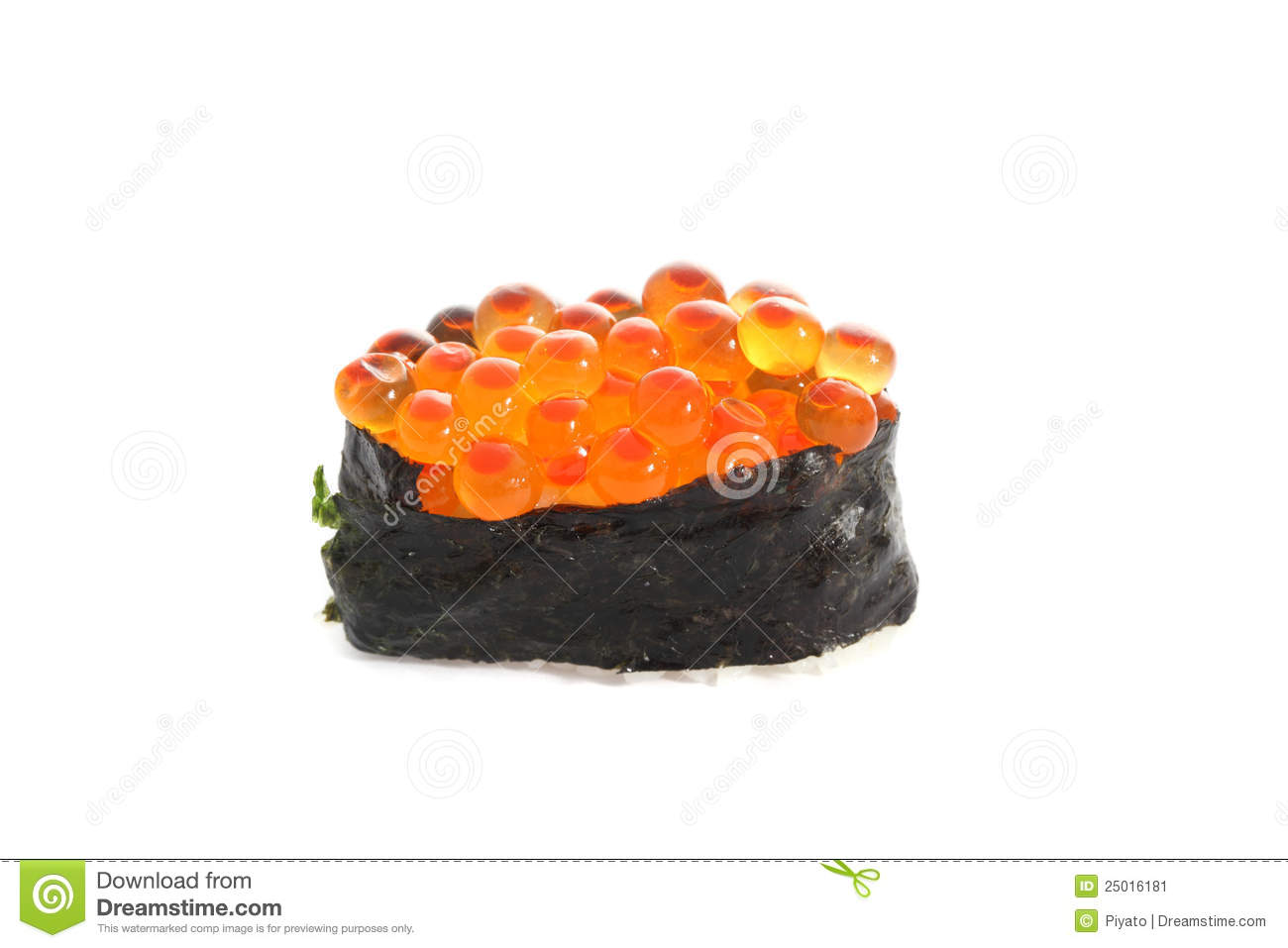 Salmon egg on sushi nigiri roll stock image image of for Fish eggs on sushi