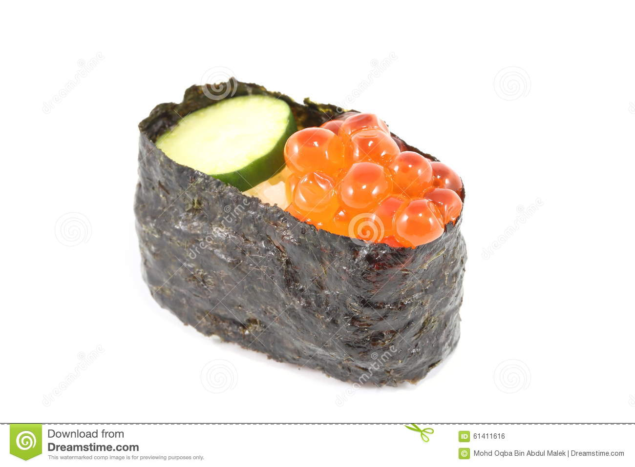 Salmon egg sushi stock photo image 61411616 for Fish eggs on sushi