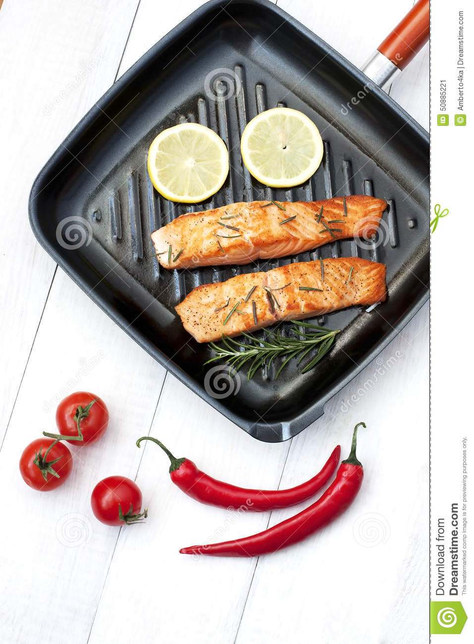 Salmon Fillet On Grill Pan Ready To Cook Stock Photo Image: 50885221