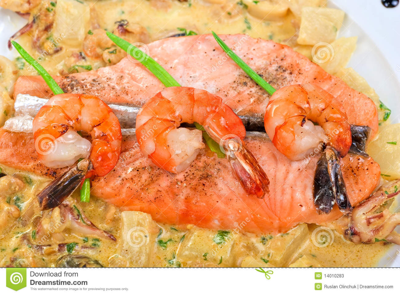 Salmon fish and seafood stock photos image 14010283 for Fish and seafood
