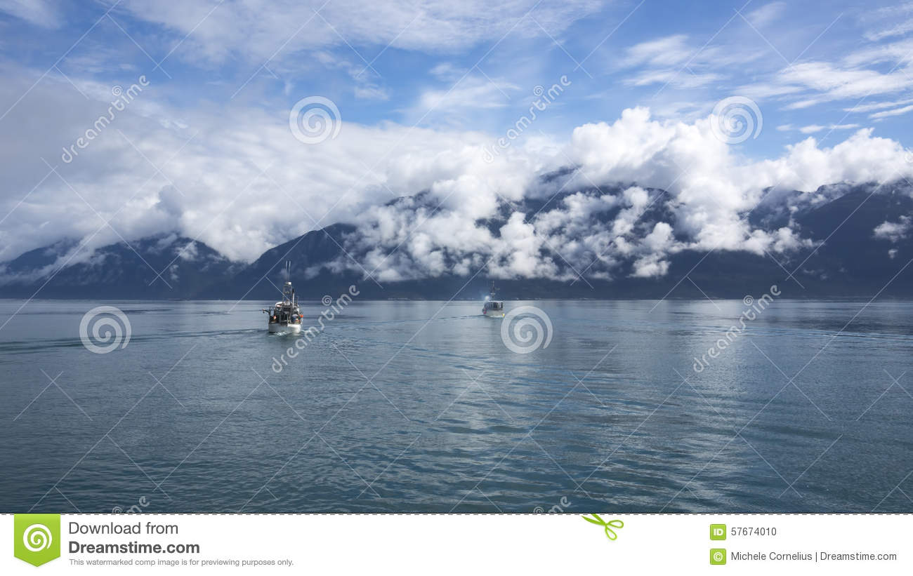 Salmon fishing boats in southeast alaska stock photo for Best time to fish in alaska