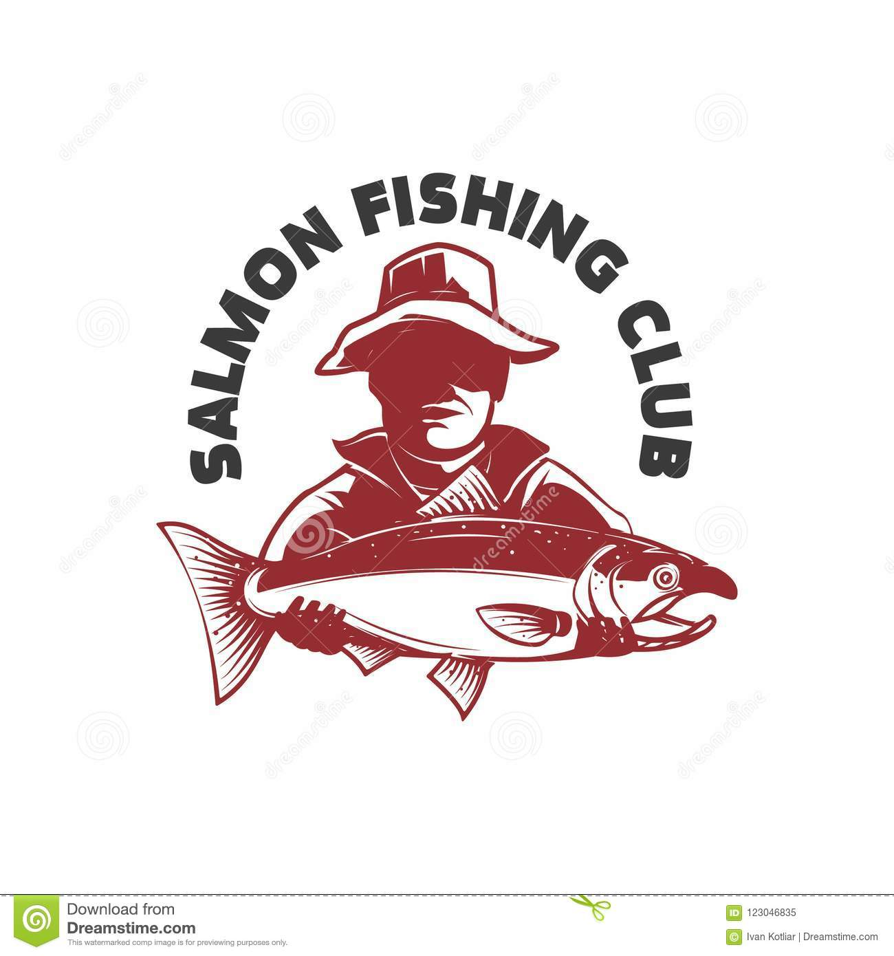 Salmon fishing club. Emblem with fisher and trout. Design element for logo, label, sign.