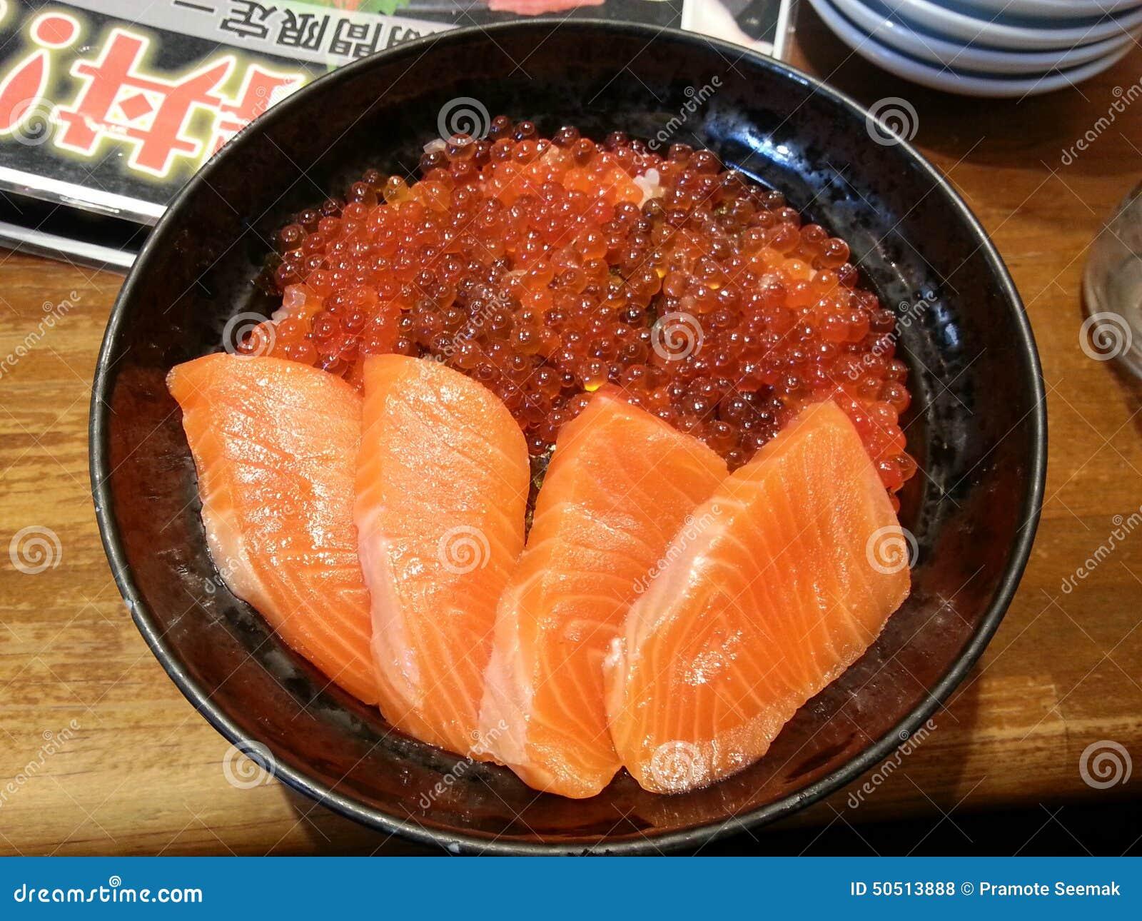Salmon ikura don japanese food japan stock photo image for Fish eggs food