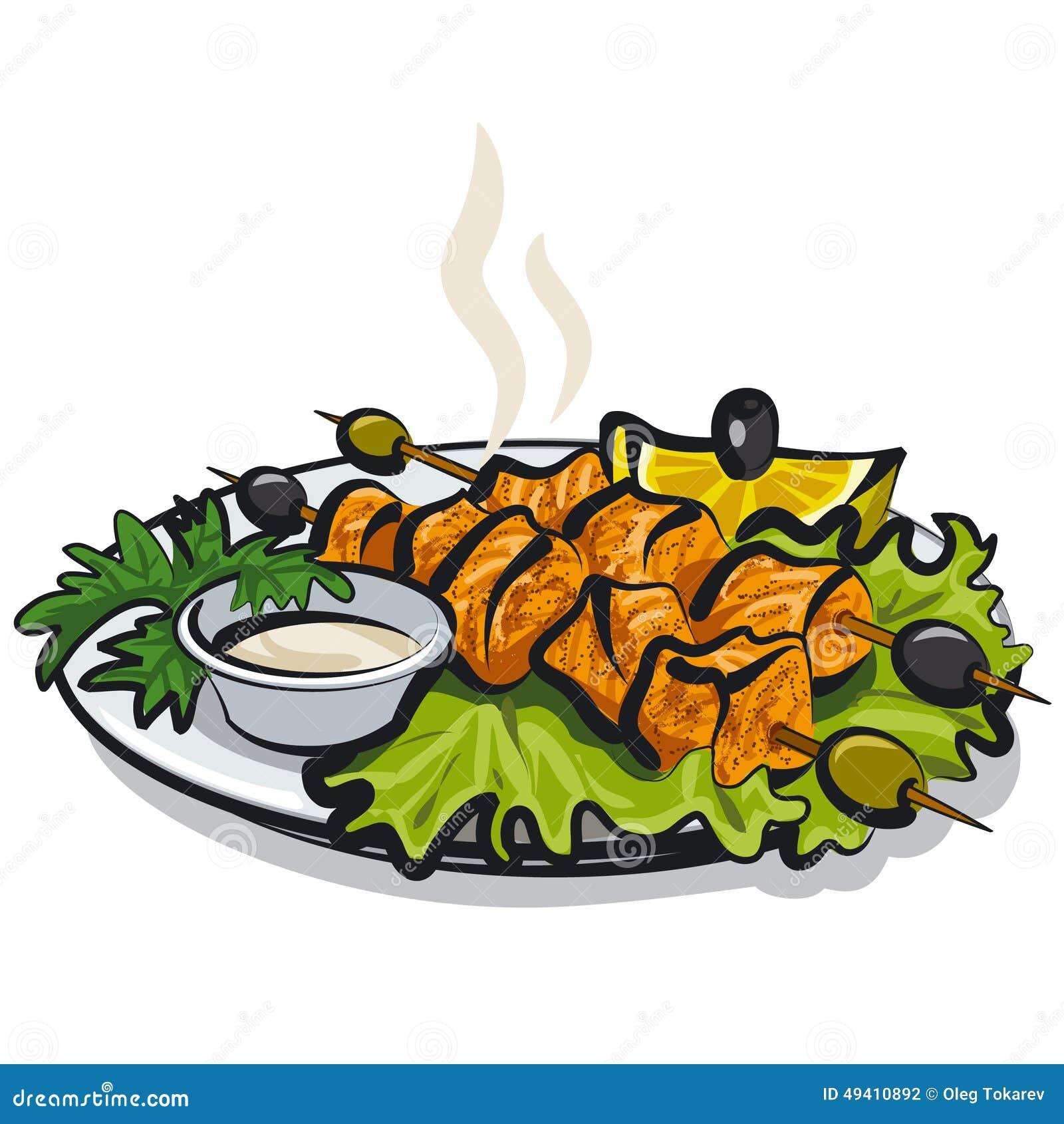 Download Salmon Kebab stock abbildung. Illustration von nahrung - 49410892