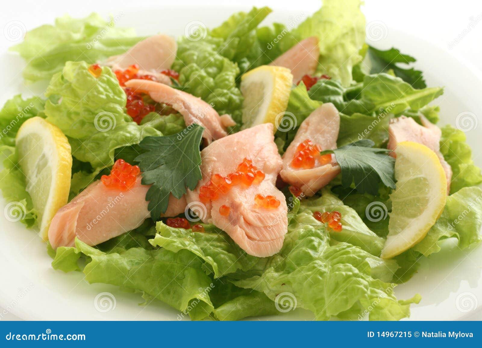 Download Salmon salad with caviar stock image. Image of prepared - 14967215