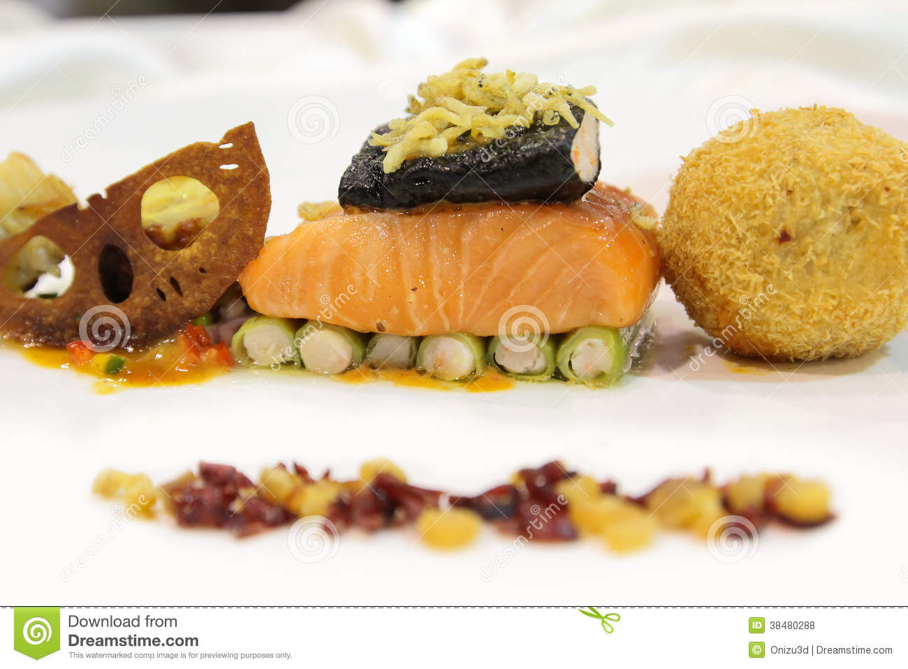 salmon with side dishes on plate stock photo image 38480288. Black Bedroom Furniture Sets. Home Design Ideas