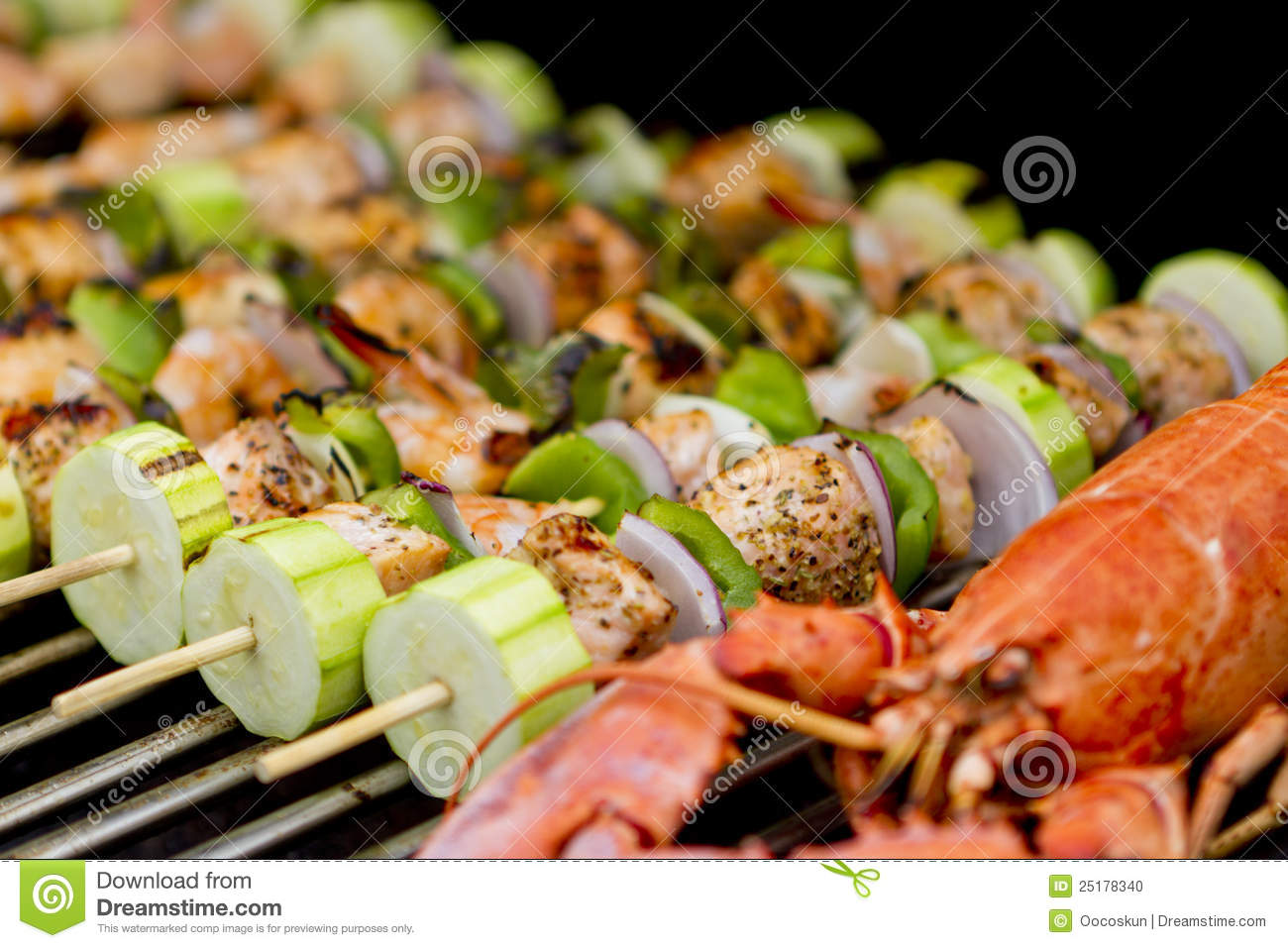 Salmon Skewers And Lobster Stock Photo - Image: 25178340