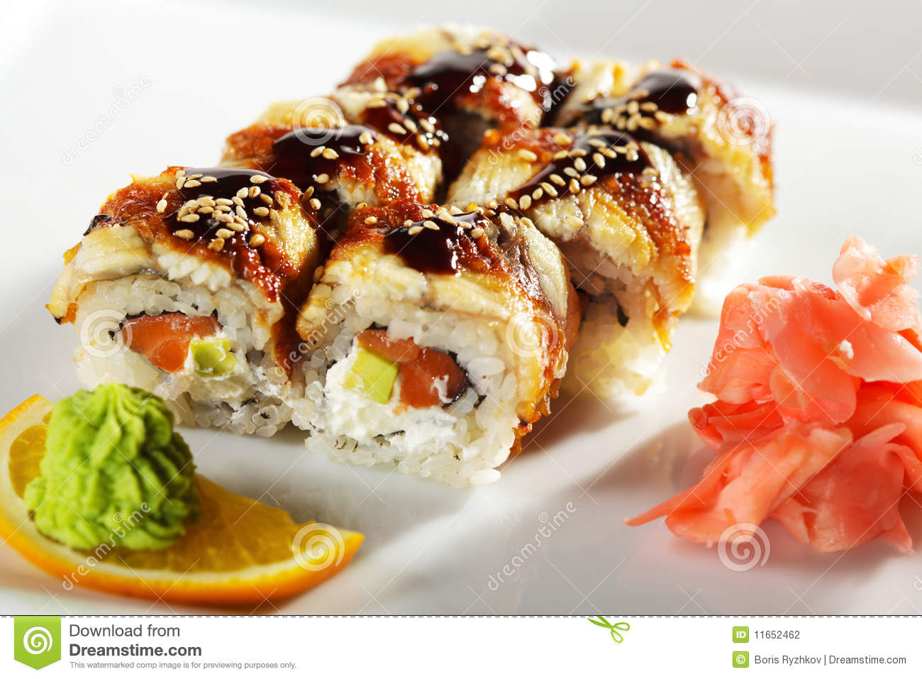 Roll made of Fresh Raw Salmon, Smoked Eel, Cream Cheese and Avocado ...