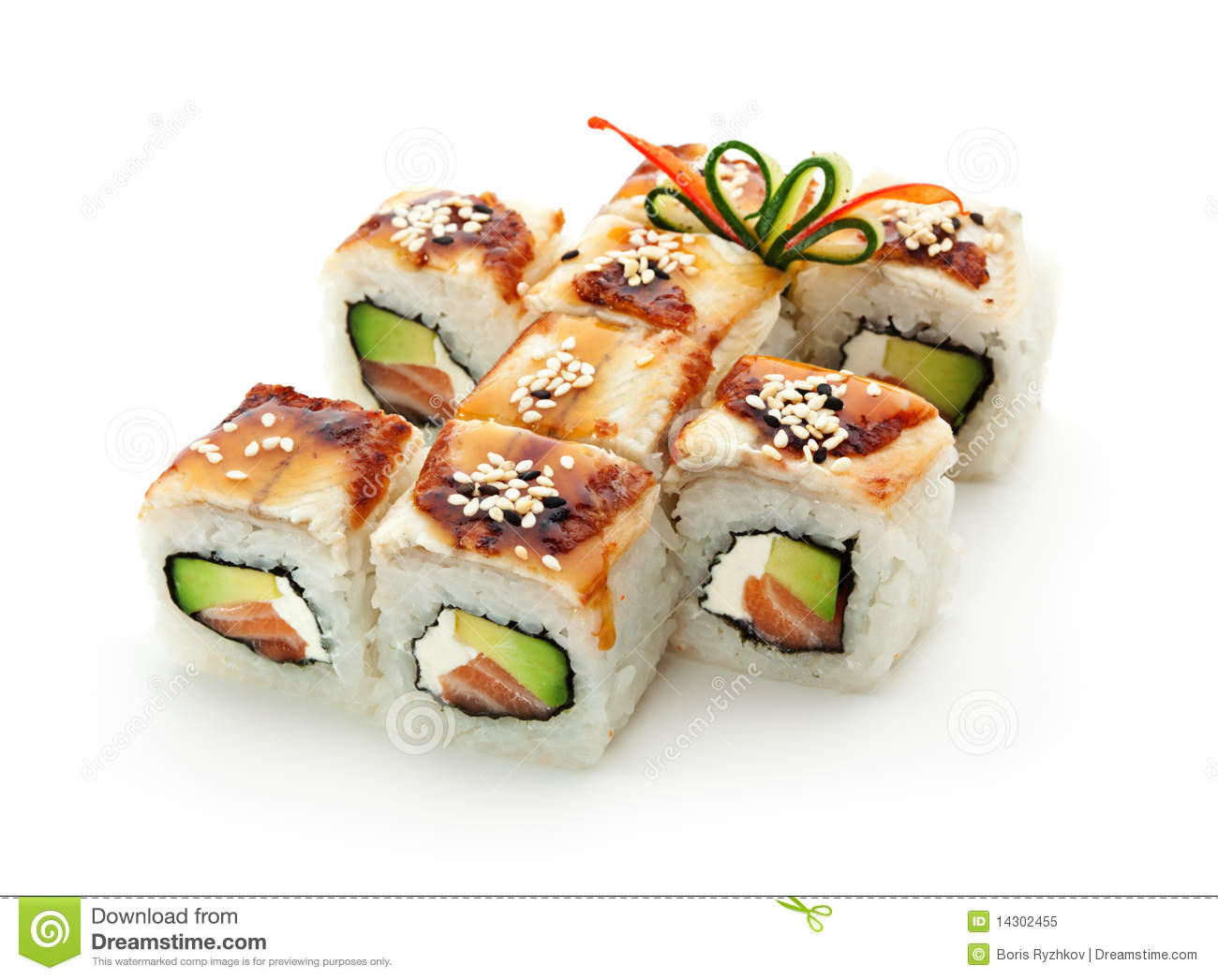 ... Salmon, Cream Cheese and Avocado inside. Topped with Smoked Eel (unagi