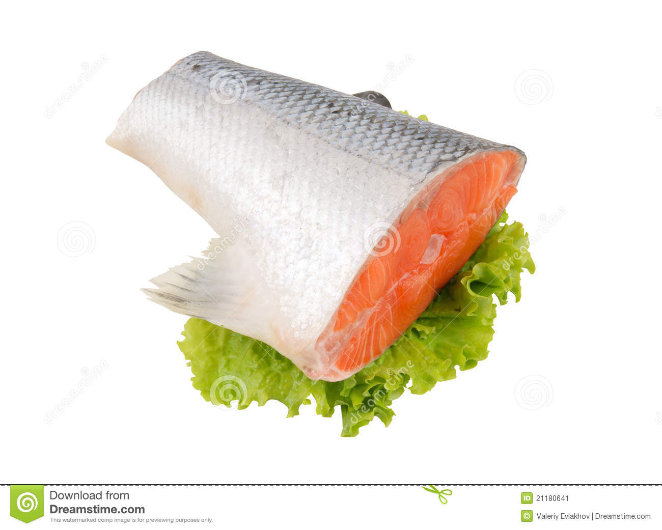 Salmon steak with greens isolated