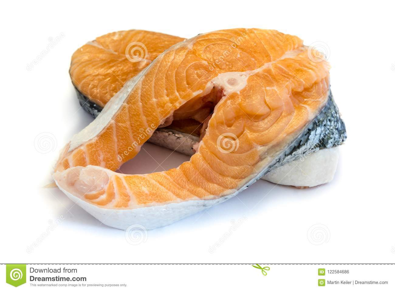 Salmon steak row seafood fish isolated cutout white Background