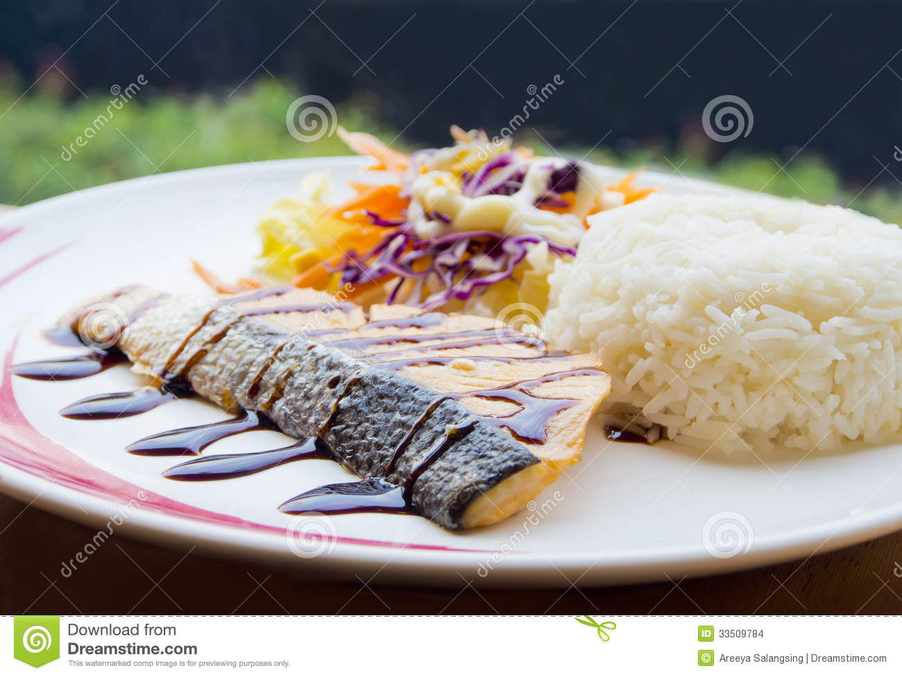 Salmon Steak Teriyaki Sauce Stock Images - Image: 33509784