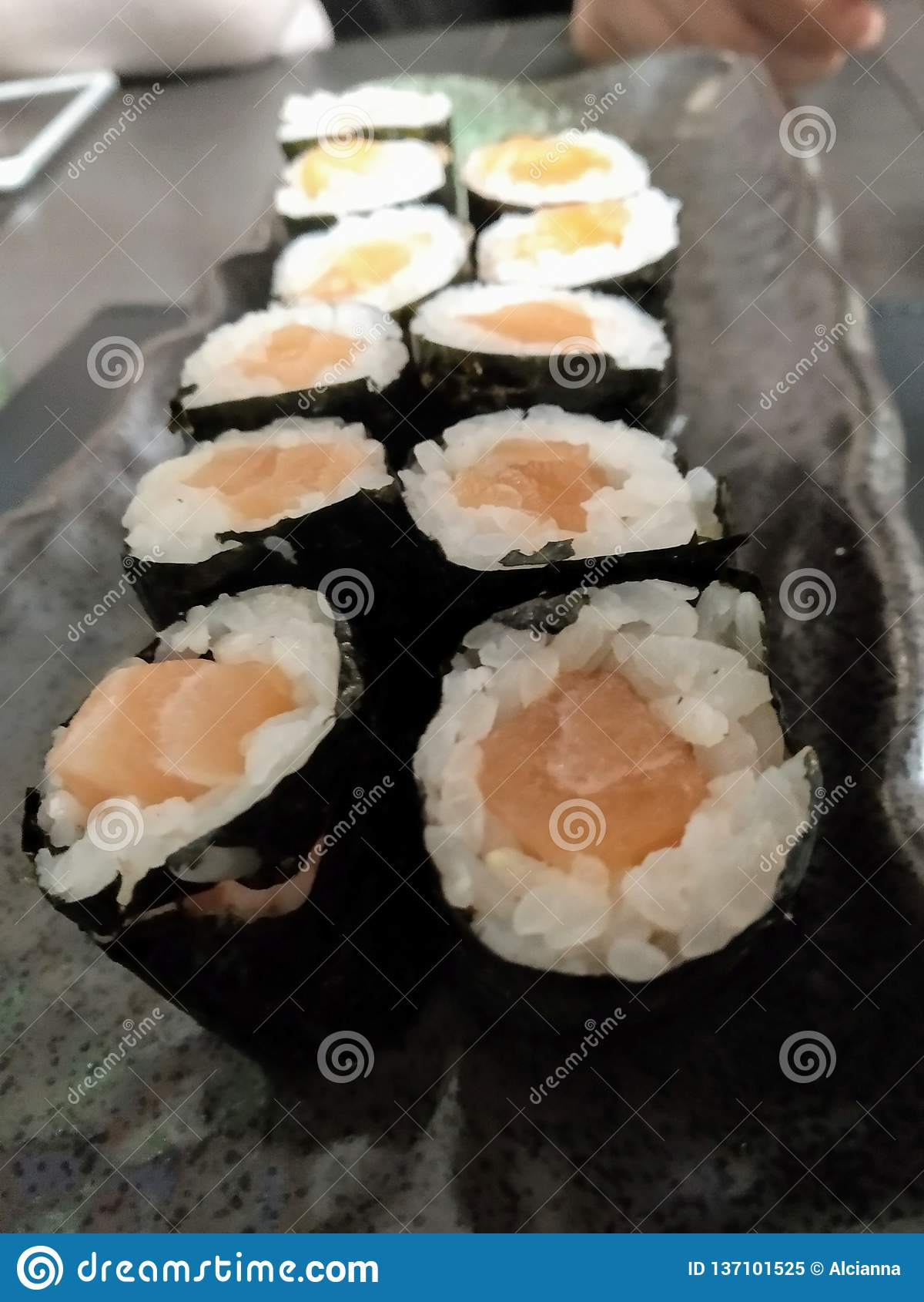 Salmon Maki At The Japanese Restaurant Stock Image Image