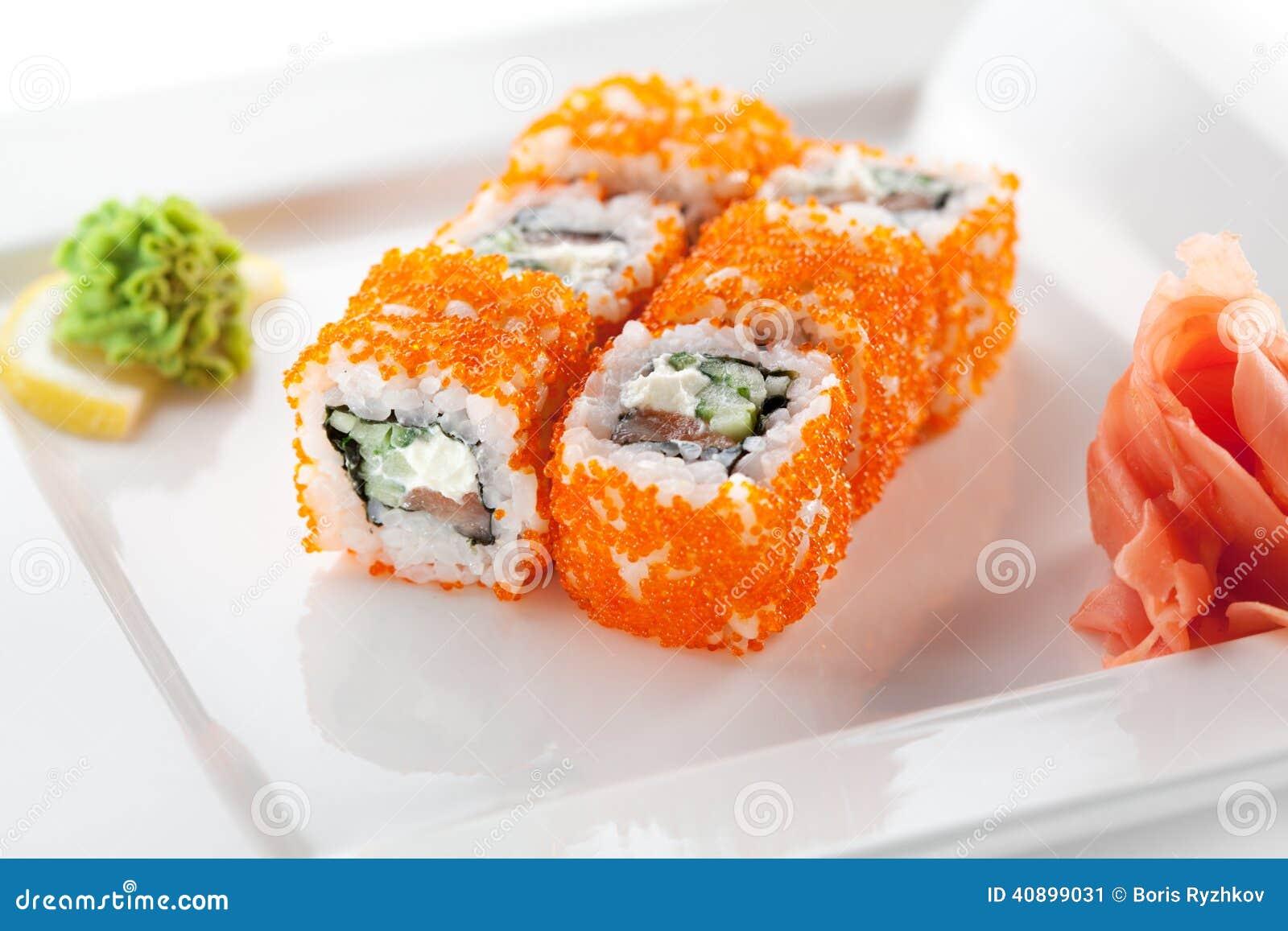 Salmon And Tobiko Roll Stock Photo Image 40899031
