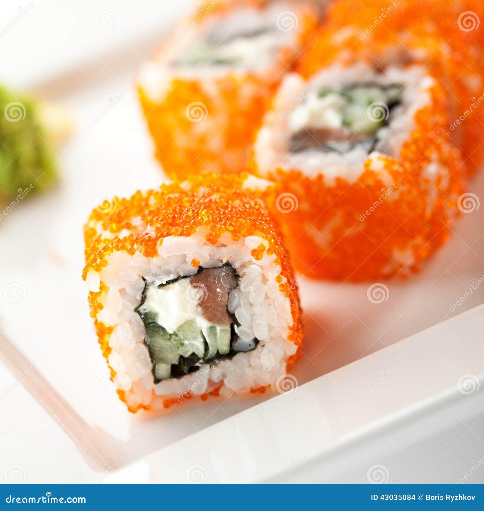 Salmon And Tobiko Roll Stock Photo Image 43035084