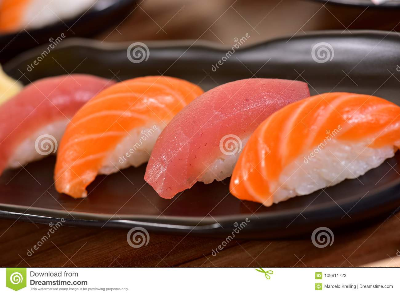 Tuna And Salmon Nigiri Sushi Stock Image Image Of Restaurant Cuisine 109611723