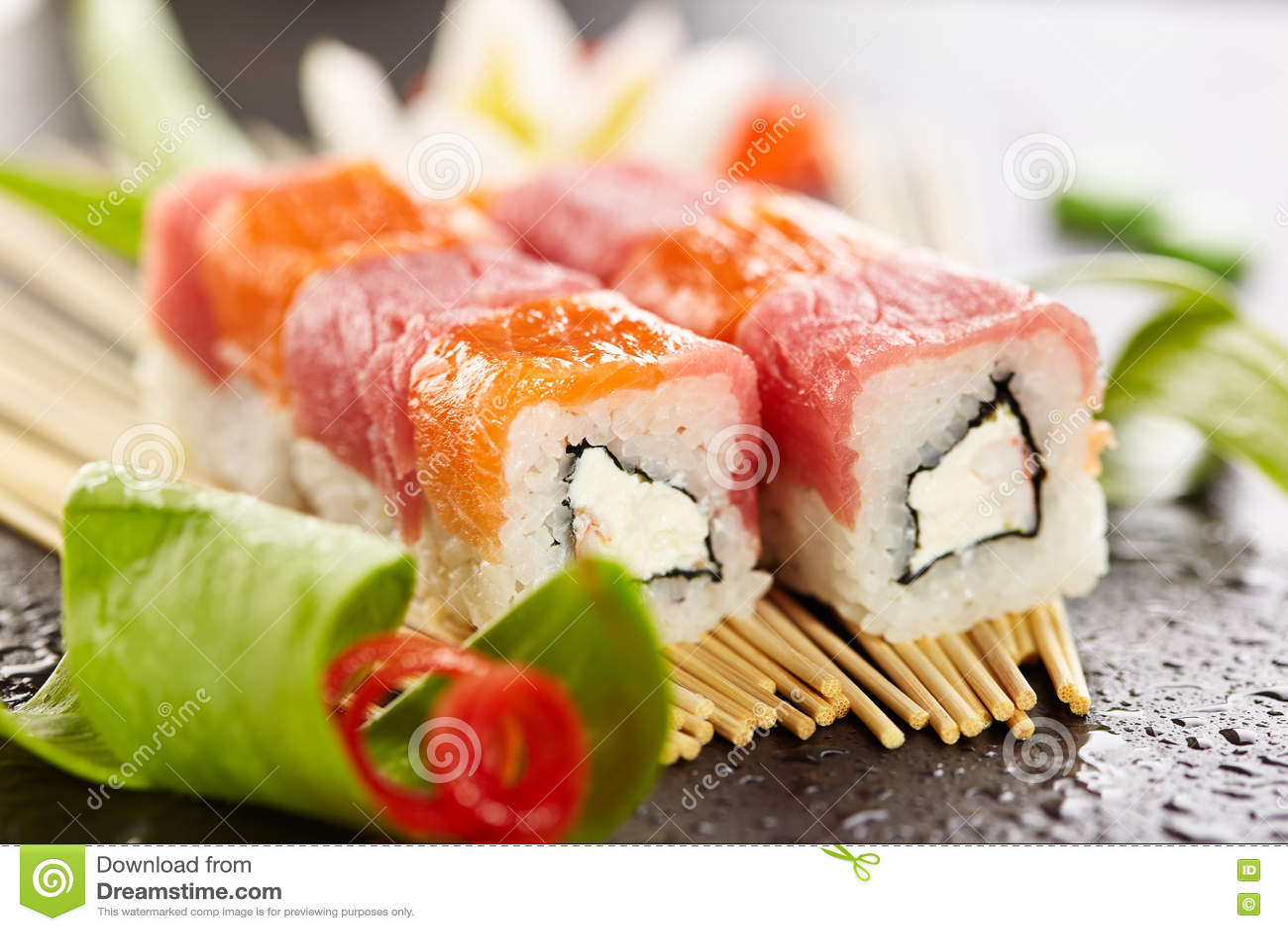 Salmon And Tuna Sushi Roll Stock Image Image Of Fish
