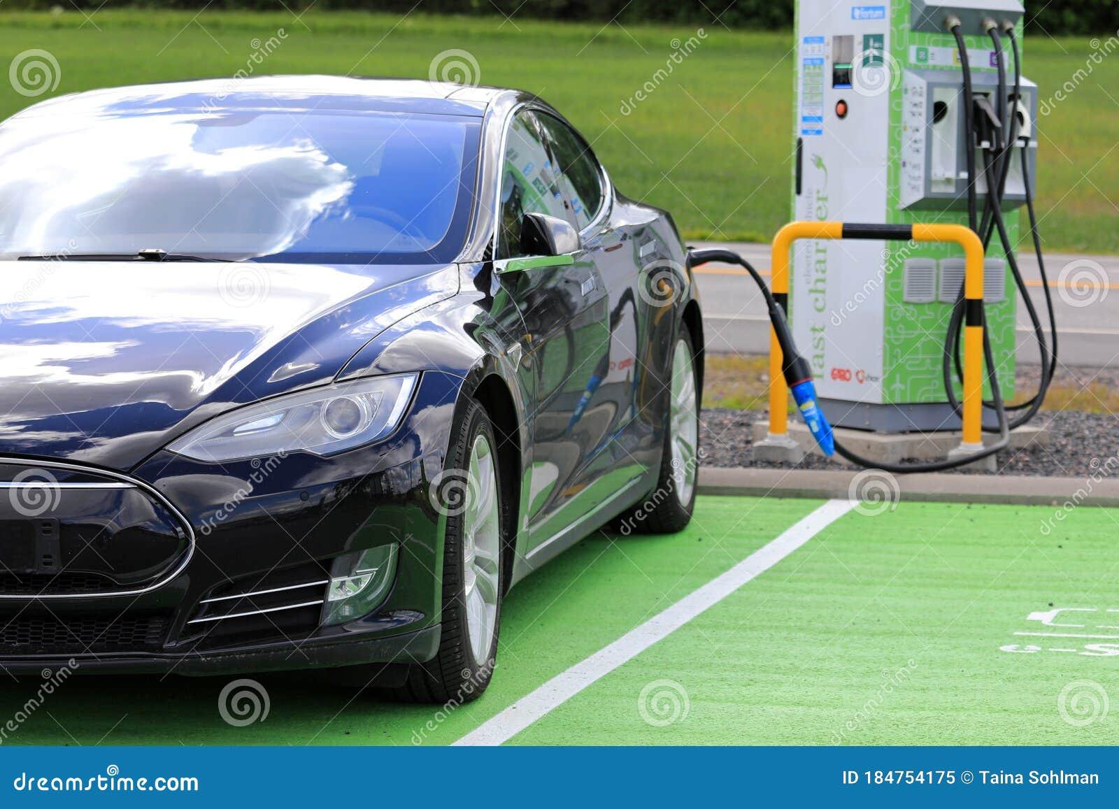 Black Tesla Model S Electric Car Charging Editorial Image ...
