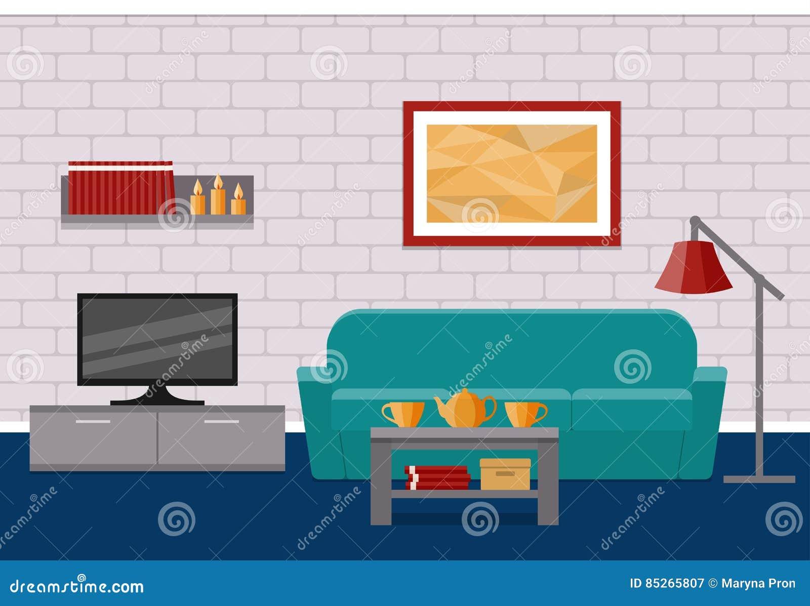 Salon plat int rieur dessin de vecteur illustration de - Saloon dessin ...